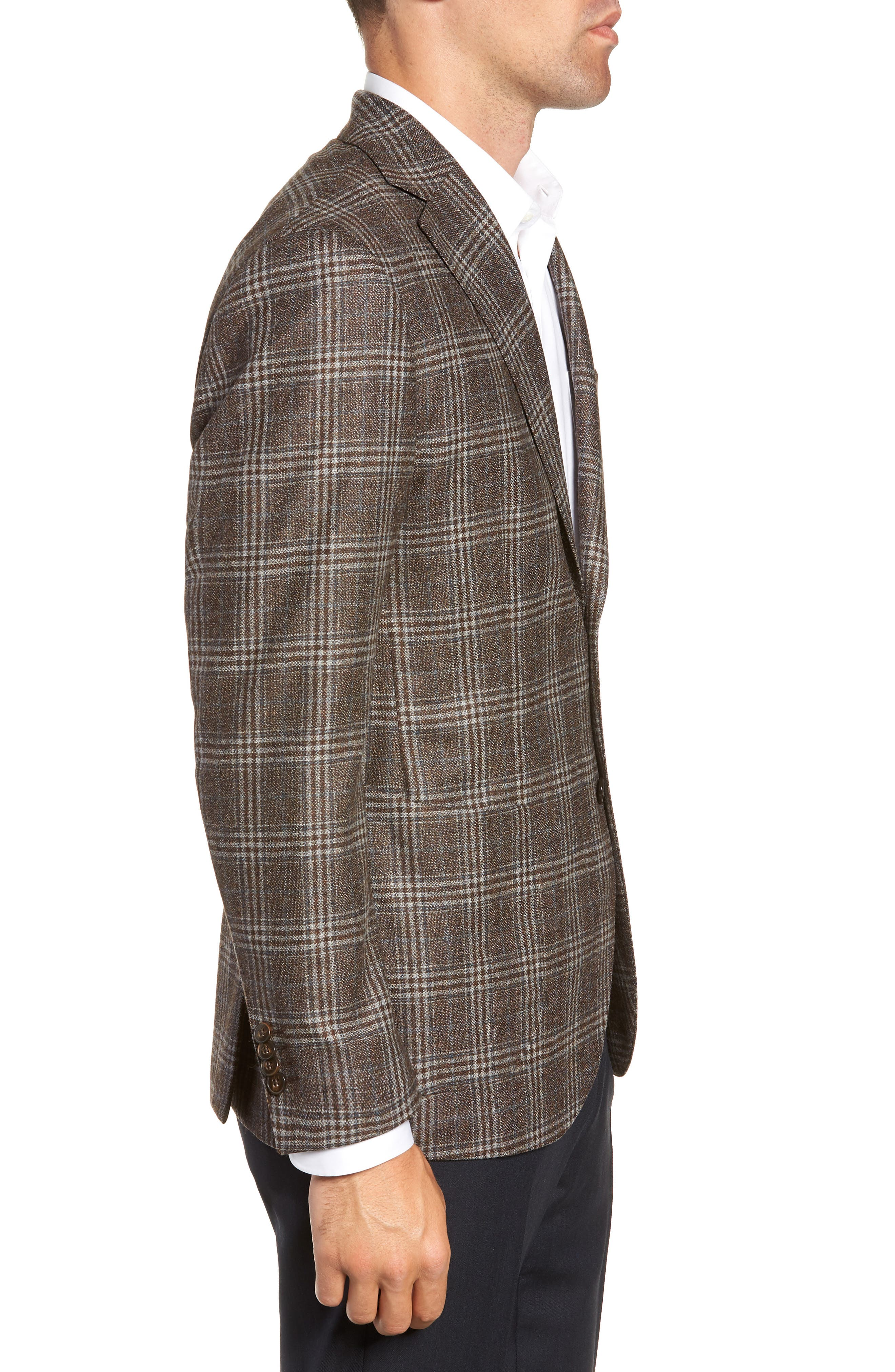 L.B.M 1911 Classic Fit Plaid Wool Sport Coat,                             Alternate thumbnail 3, color,                             BROWN