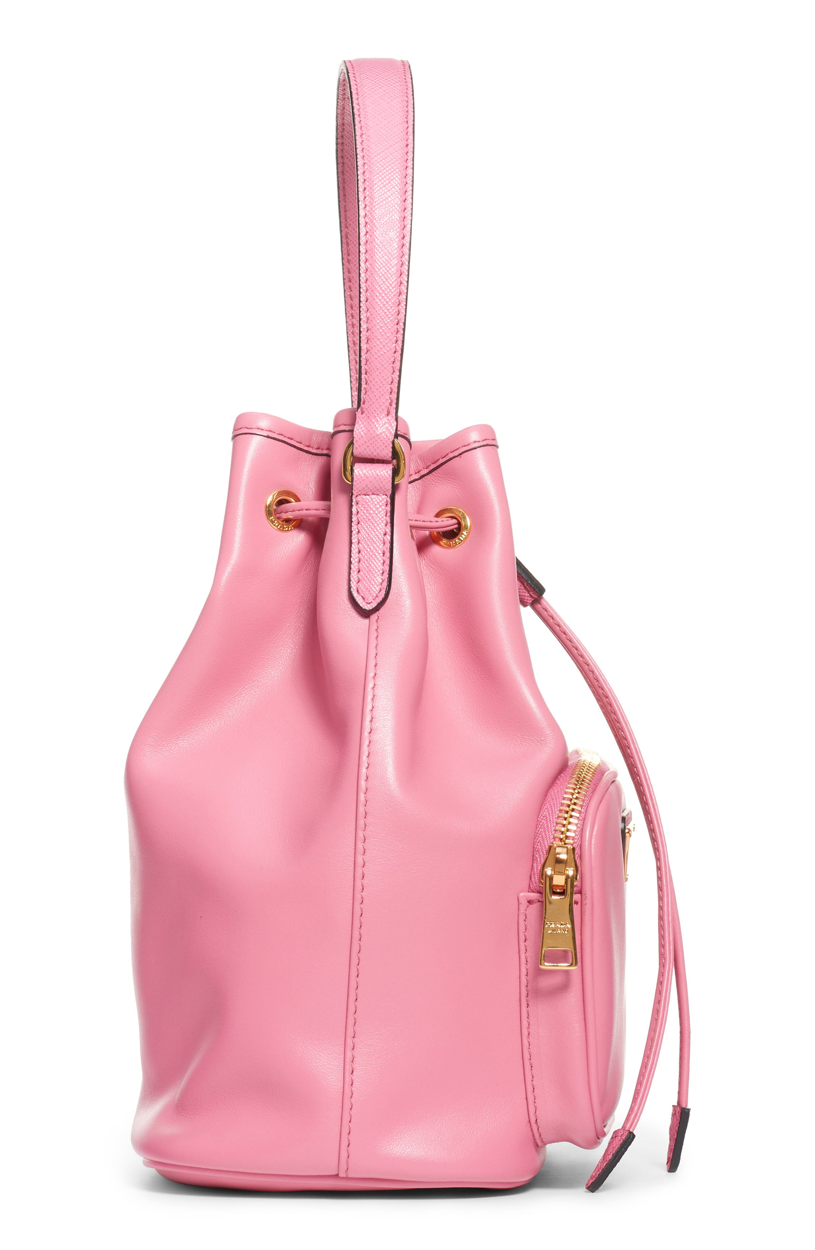 PRADA,                             Leather Bucket Bag,                             Alternate thumbnail 3, color,                             BEGONIA