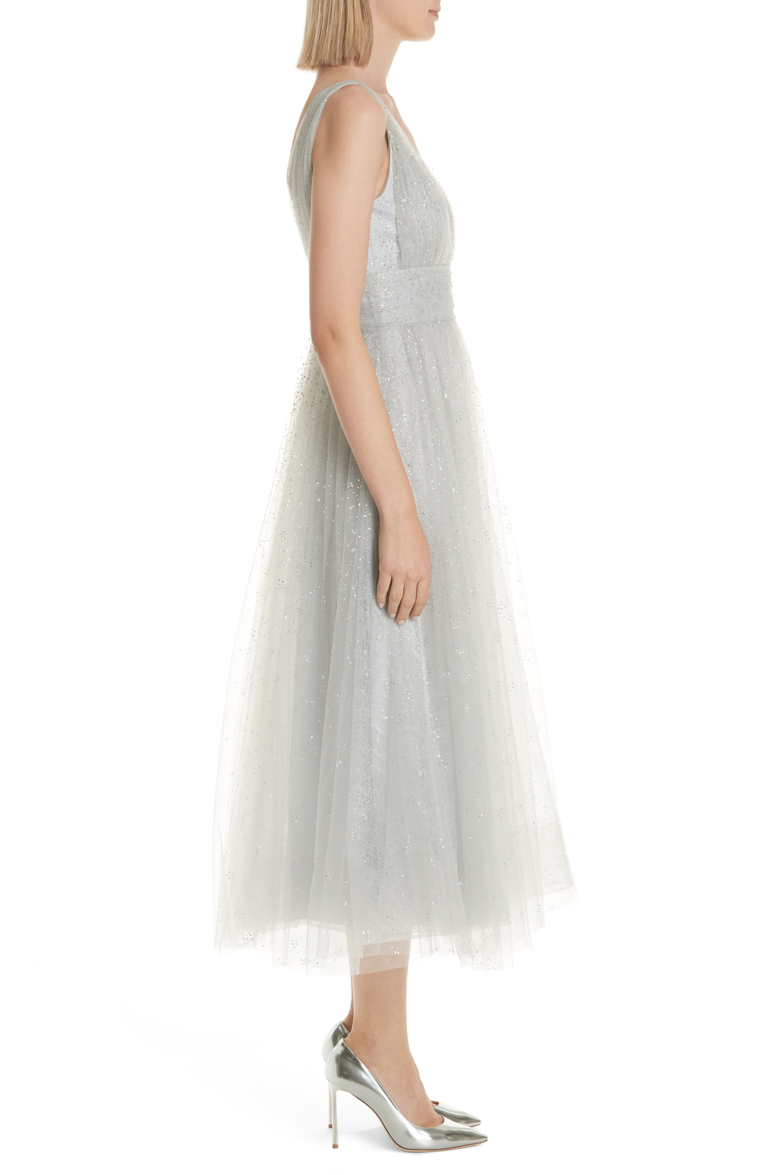 MARCHESA NOTTE,                             Glitter Tulle Tea Length Dress,                             Alternate thumbnail 4, color,                             SILVER