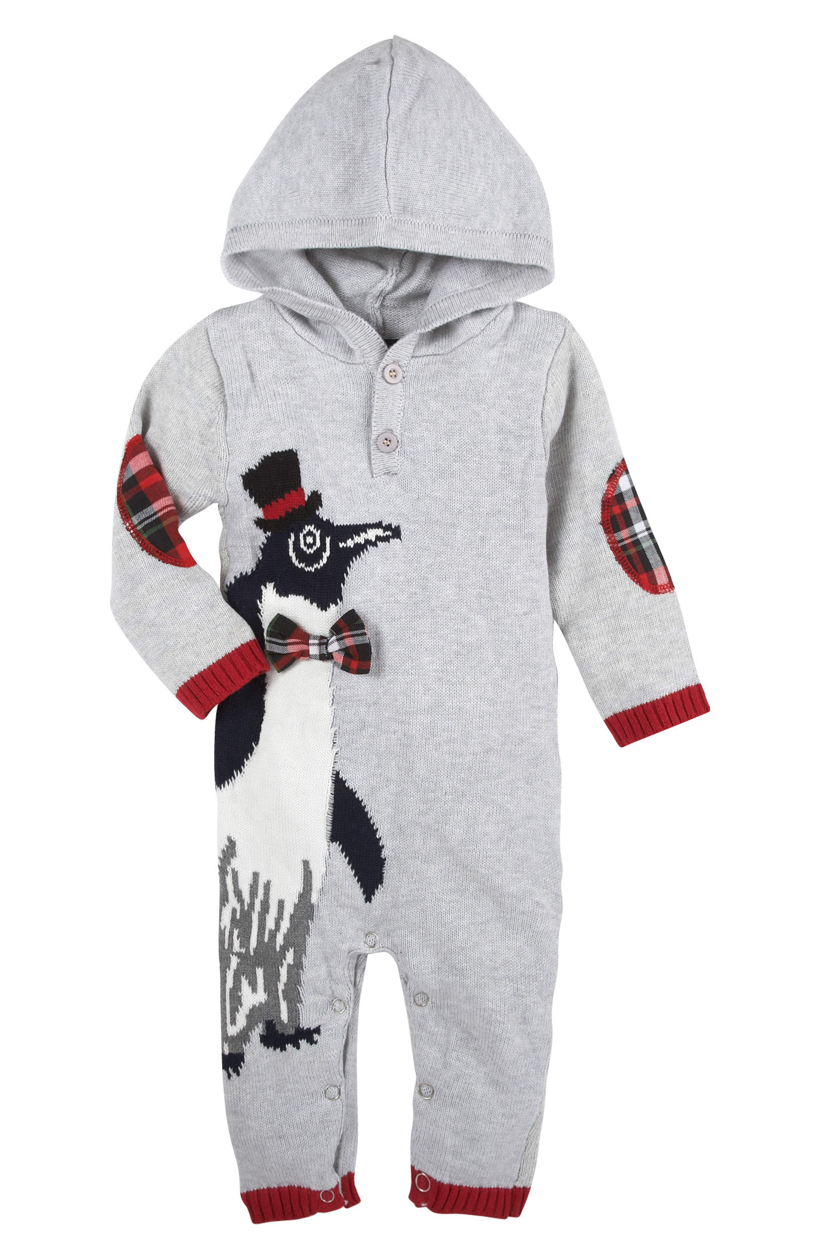 Christmas Penguin Hooded Romper,                             Main thumbnail 1, color,