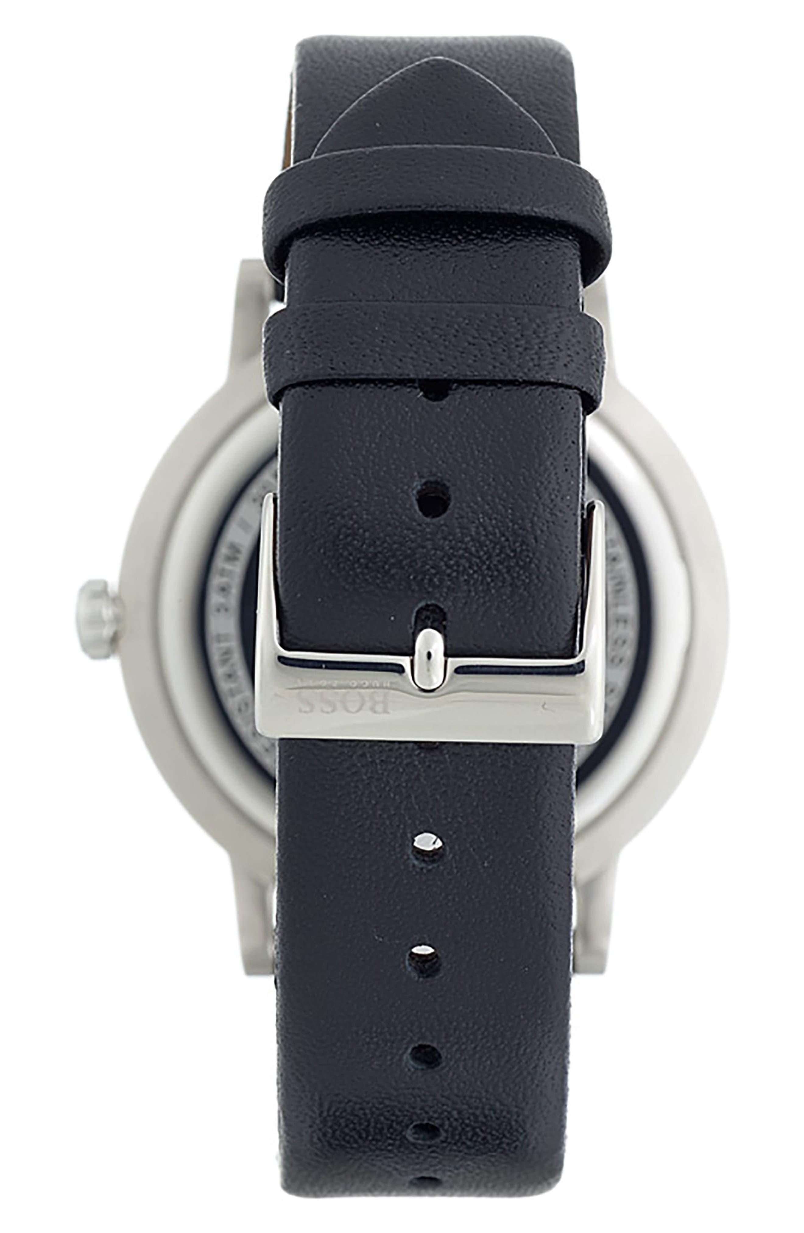 Essence Leather Strap Watch, 42mm,                             Alternate thumbnail 2, color,                             BLACK/ BLACK