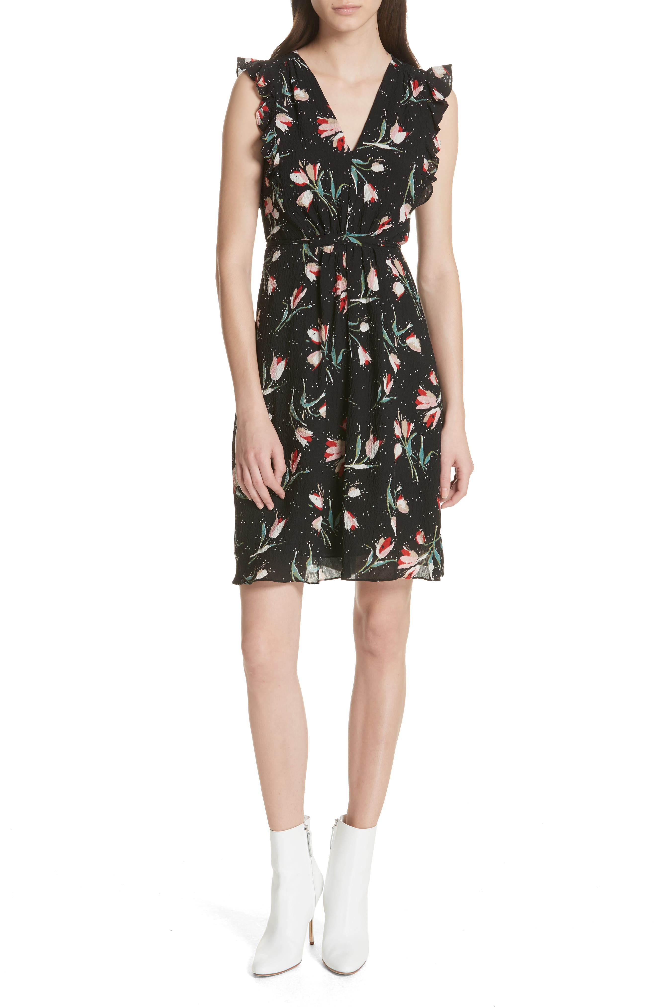 Ruffled Ikat Floral A-Line Dress,                             Main thumbnail 1, color,