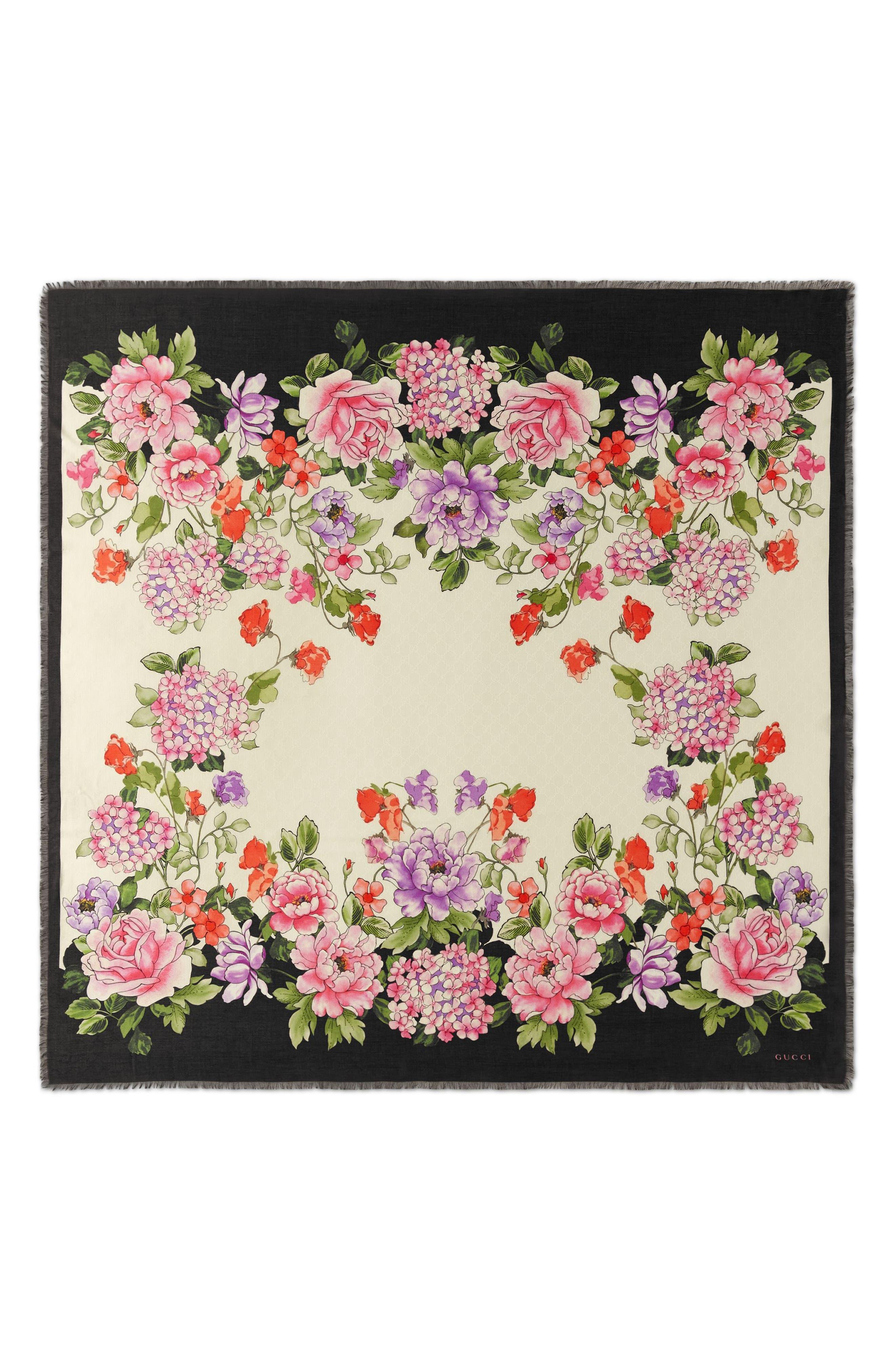 GUCCI,                             Rising Flowers Square Shawl,                             Main thumbnail 1, color,                             IVORY/ BLACK