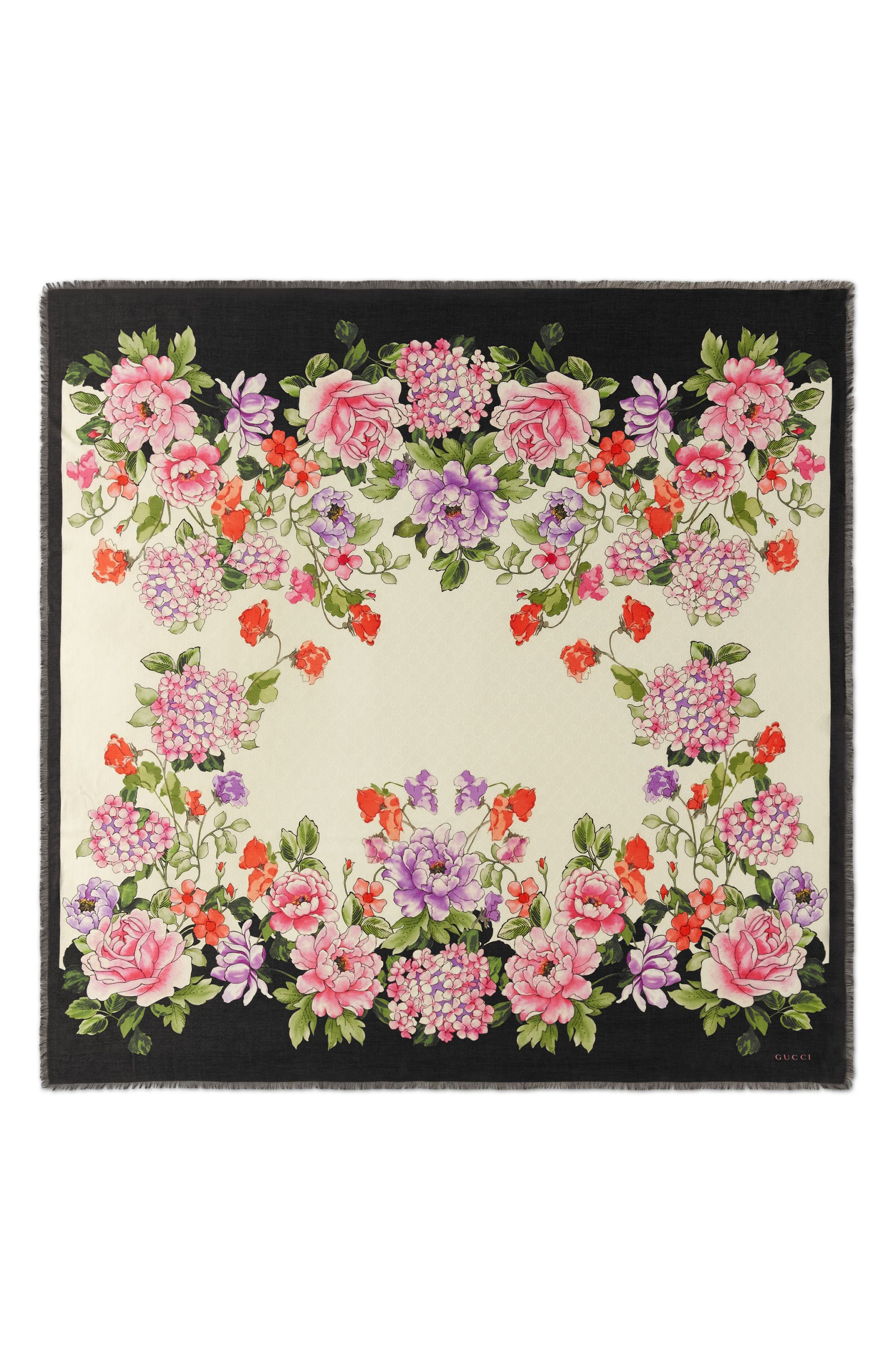 GUCCI Rising Flowers Square Shawl, Main, color, IVORY/ BLACK