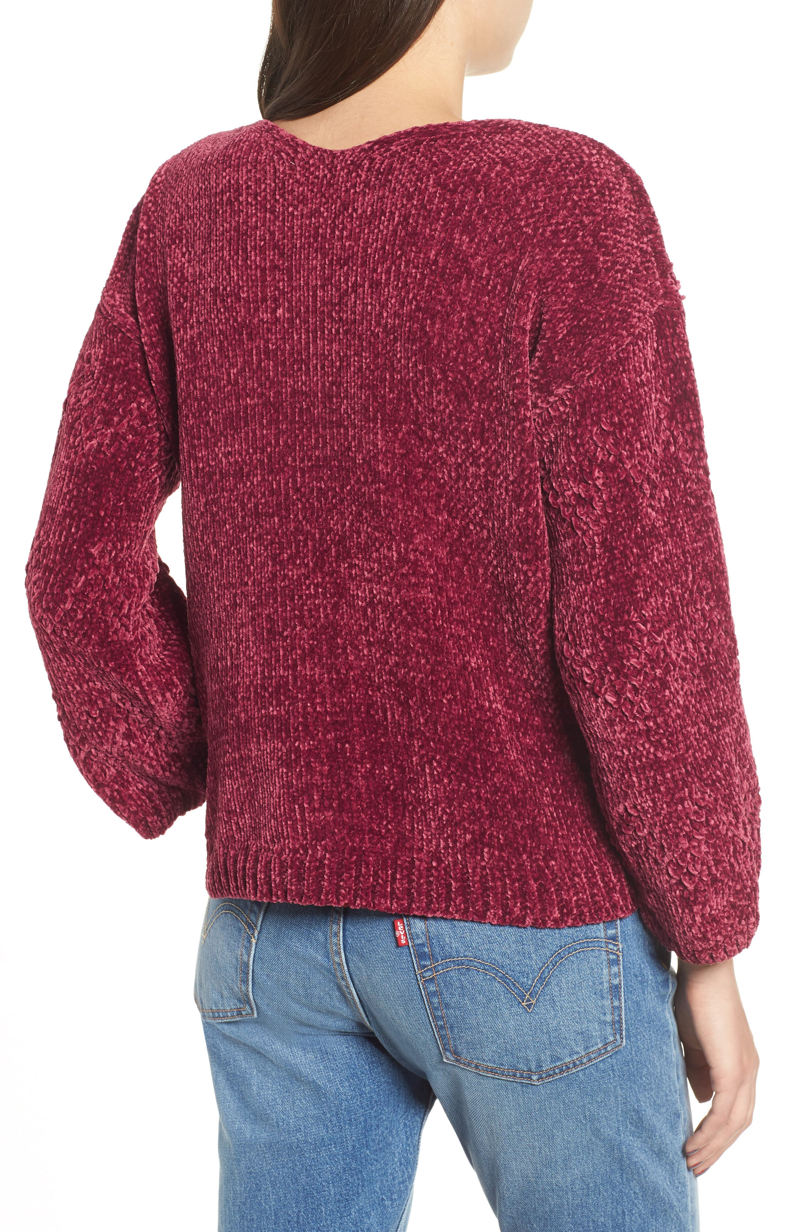 Chenille Plunging Sweater,                             Alternate thumbnail 2, color,                             500