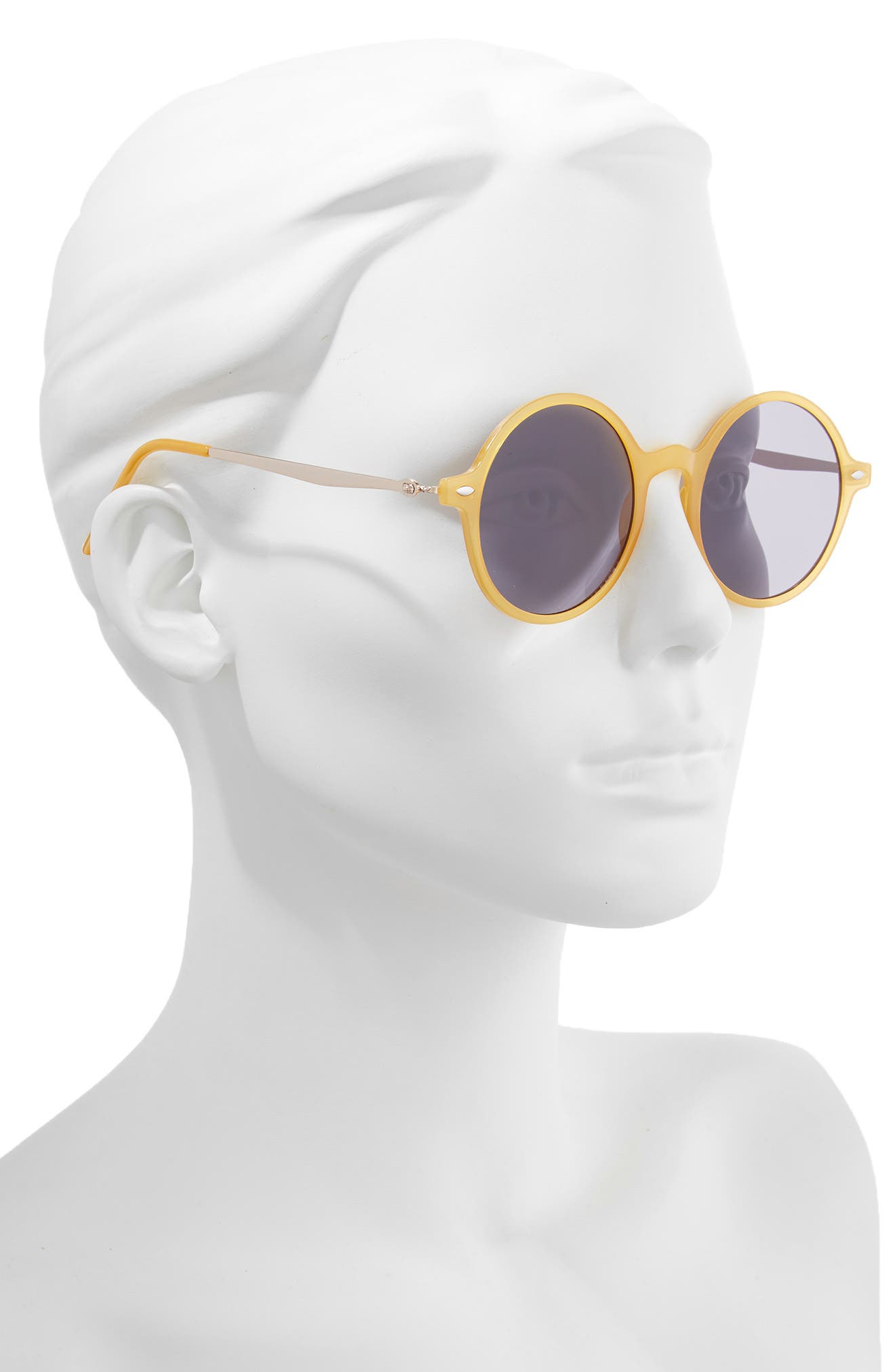 48mm Round Mixed Media Sunglasses,                             Alternate thumbnail 2, color,                             NAVY/ YELLOW
