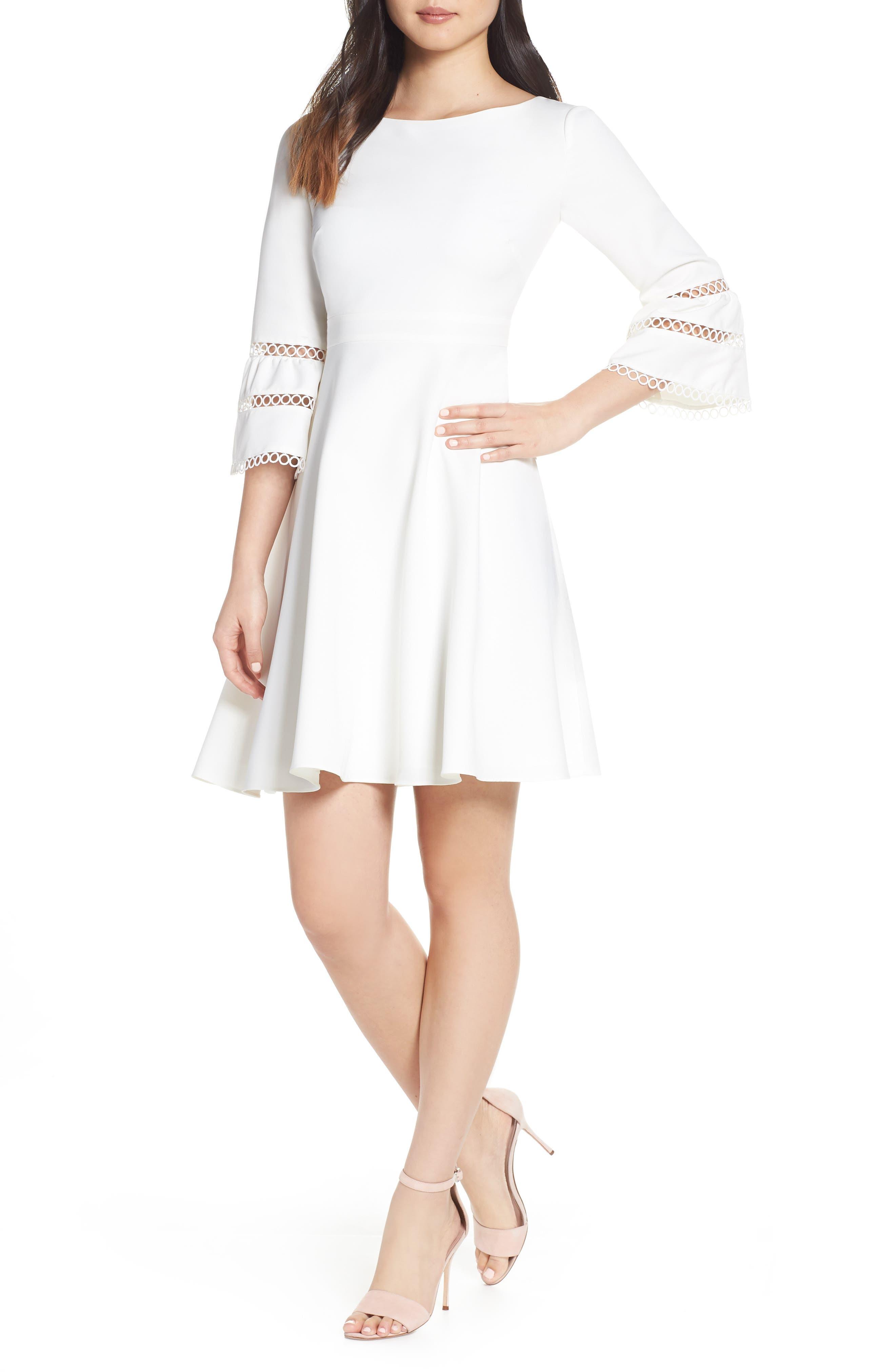 Eliza J Bateau Neck Fit & Flare Dress, Ivory