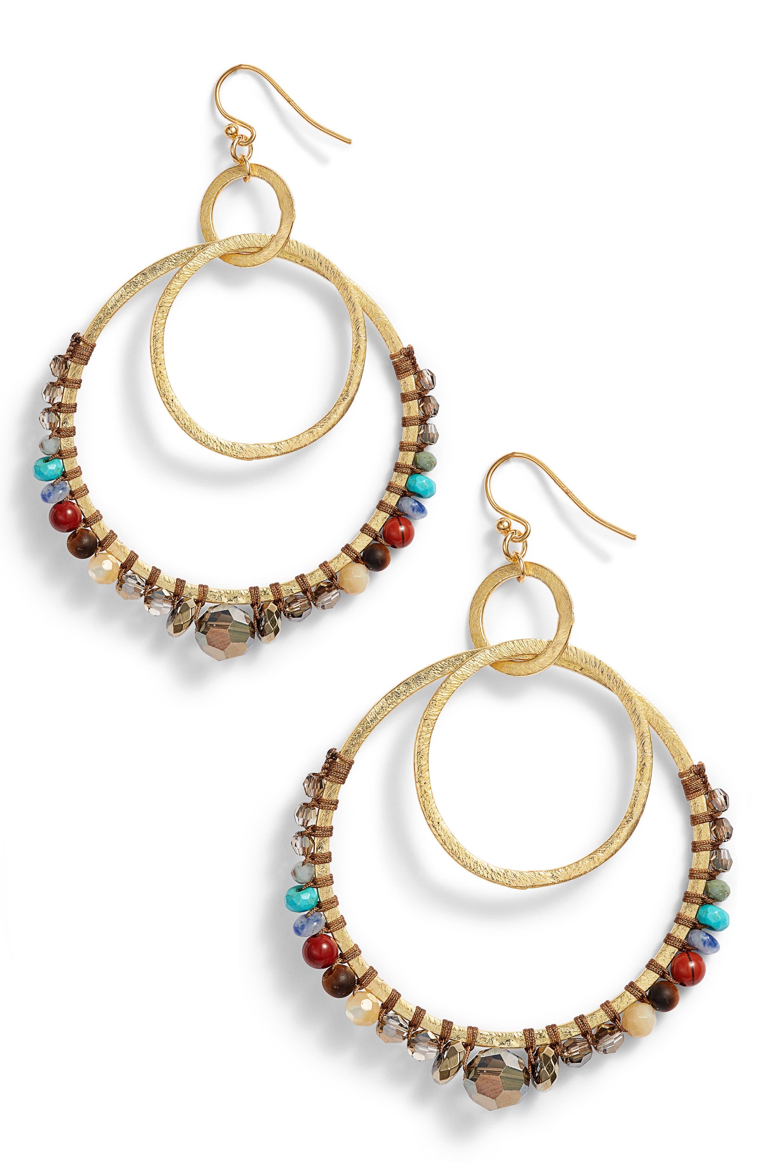 Beaded Double Hoop Earrings,                         Main,                         color, BEIGE MULTI MIX