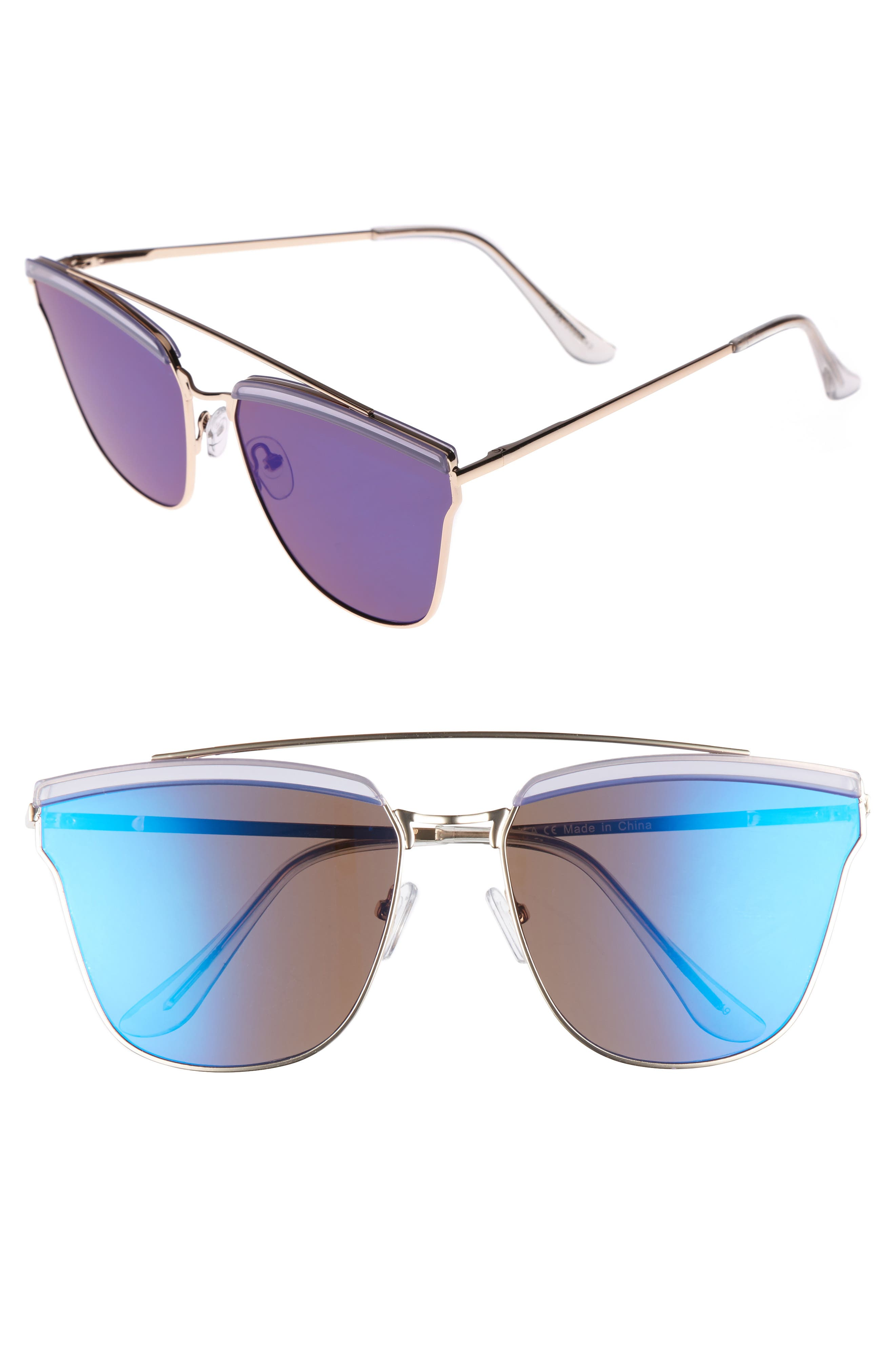 60mm Mirror Sunglasses,                             Main thumbnail 1, color,                             712