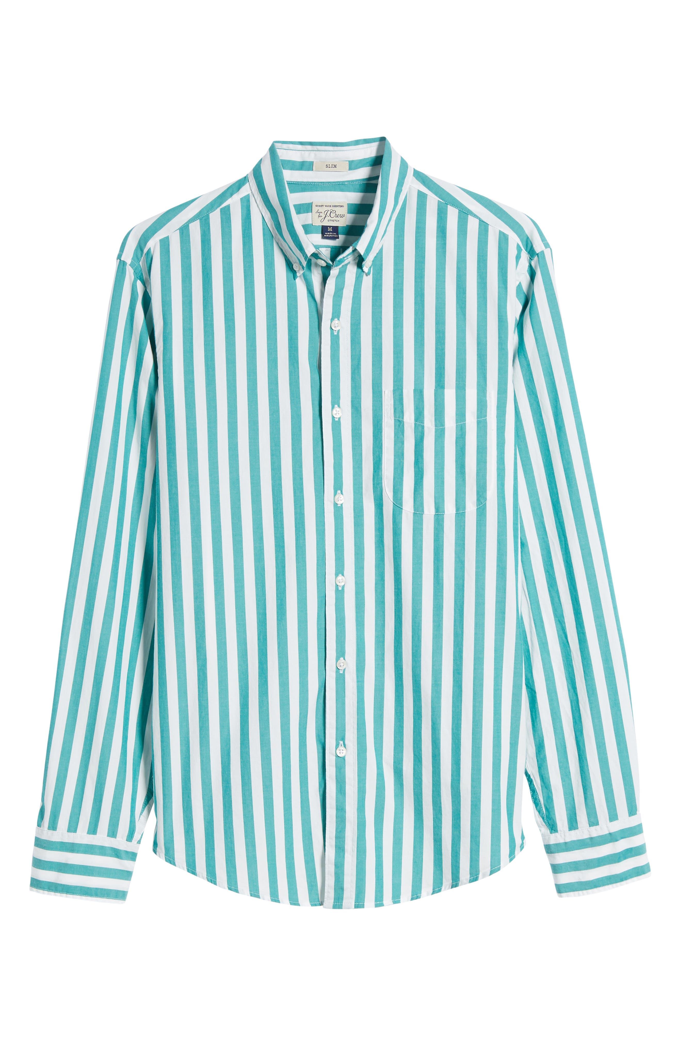 Slim Fit Stretch Secret Wash Stripe Sport Shirt,                             Alternate thumbnail 6, color,                             400