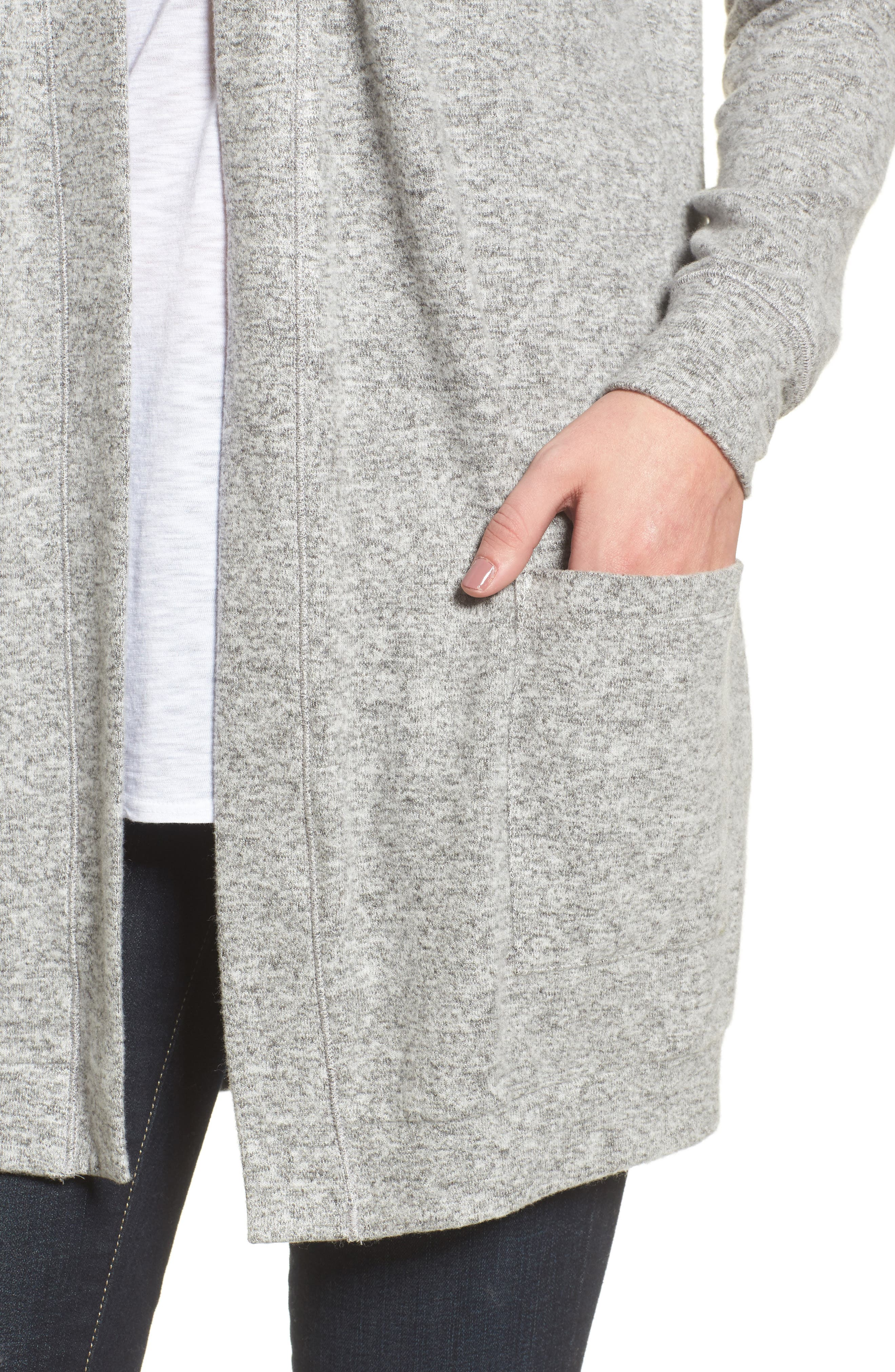 Rib Knit Cardigan,                             Alternate thumbnail 4, color,                             LIGHT HEATHER GREY