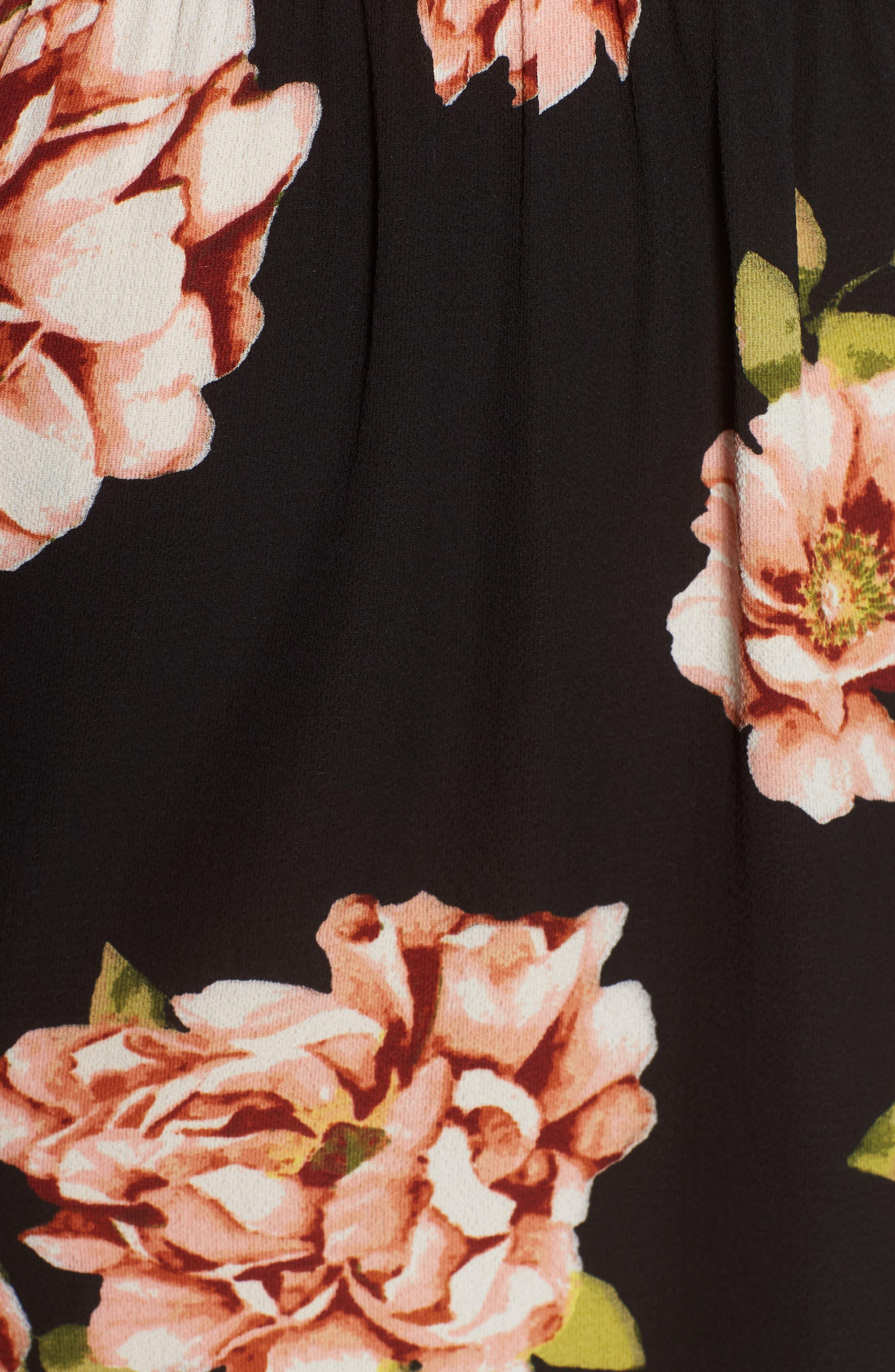 Off the Shoulder Midi Dress,                             Alternate thumbnail 5, color,                             001