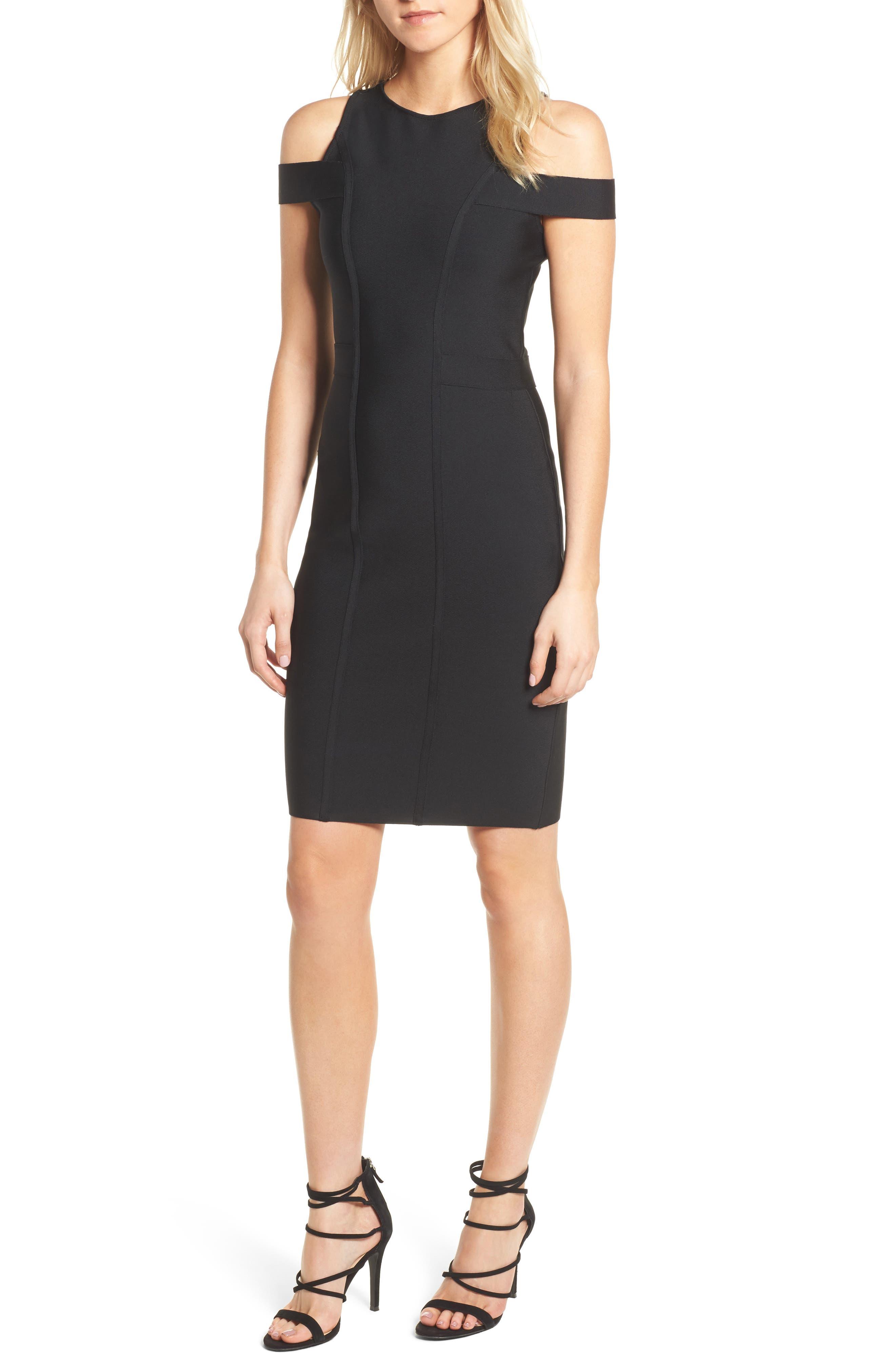 Cold Shoulder Body-Con Dress,                         Main,                         color, BLACK
