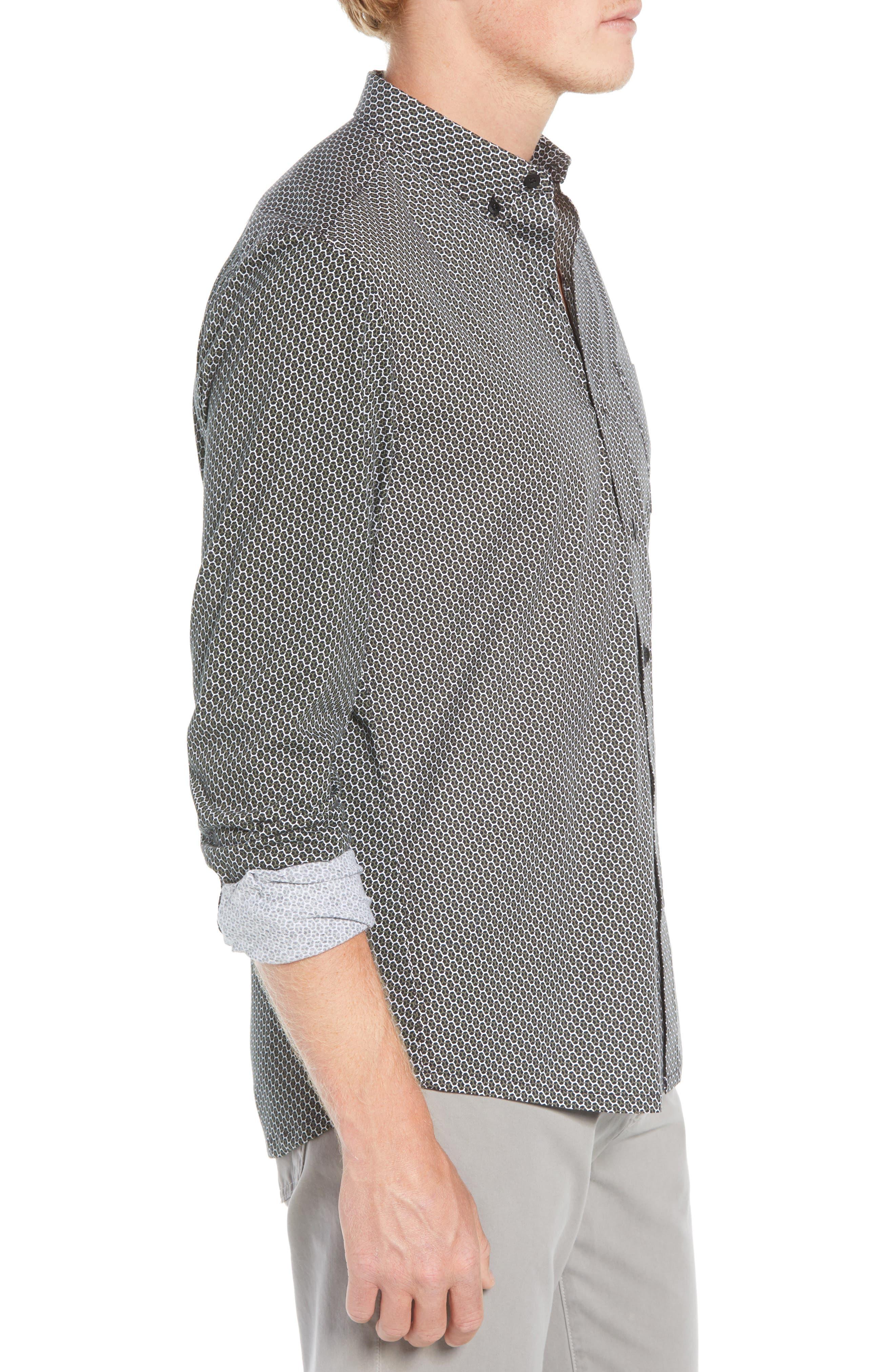 Reworked Slim Fit Print Sport Shirt,                             Alternate thumbnail 4, color,                             BLACK/ GREEN