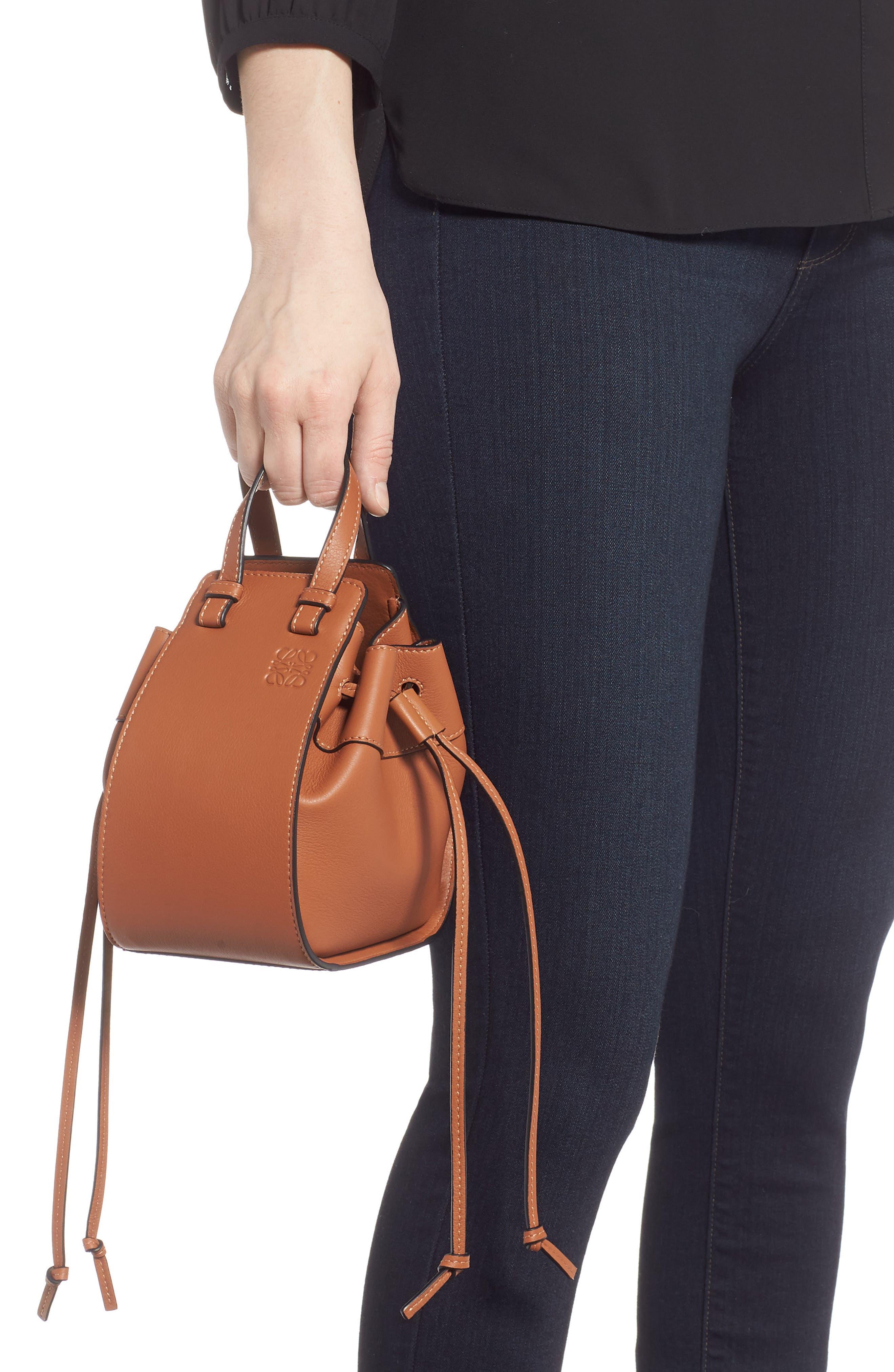 LOEWE,                             Mini Hammock Calfskin Leather Hobo Bag,                             Alternate thumbnail 2, color,                             TAN