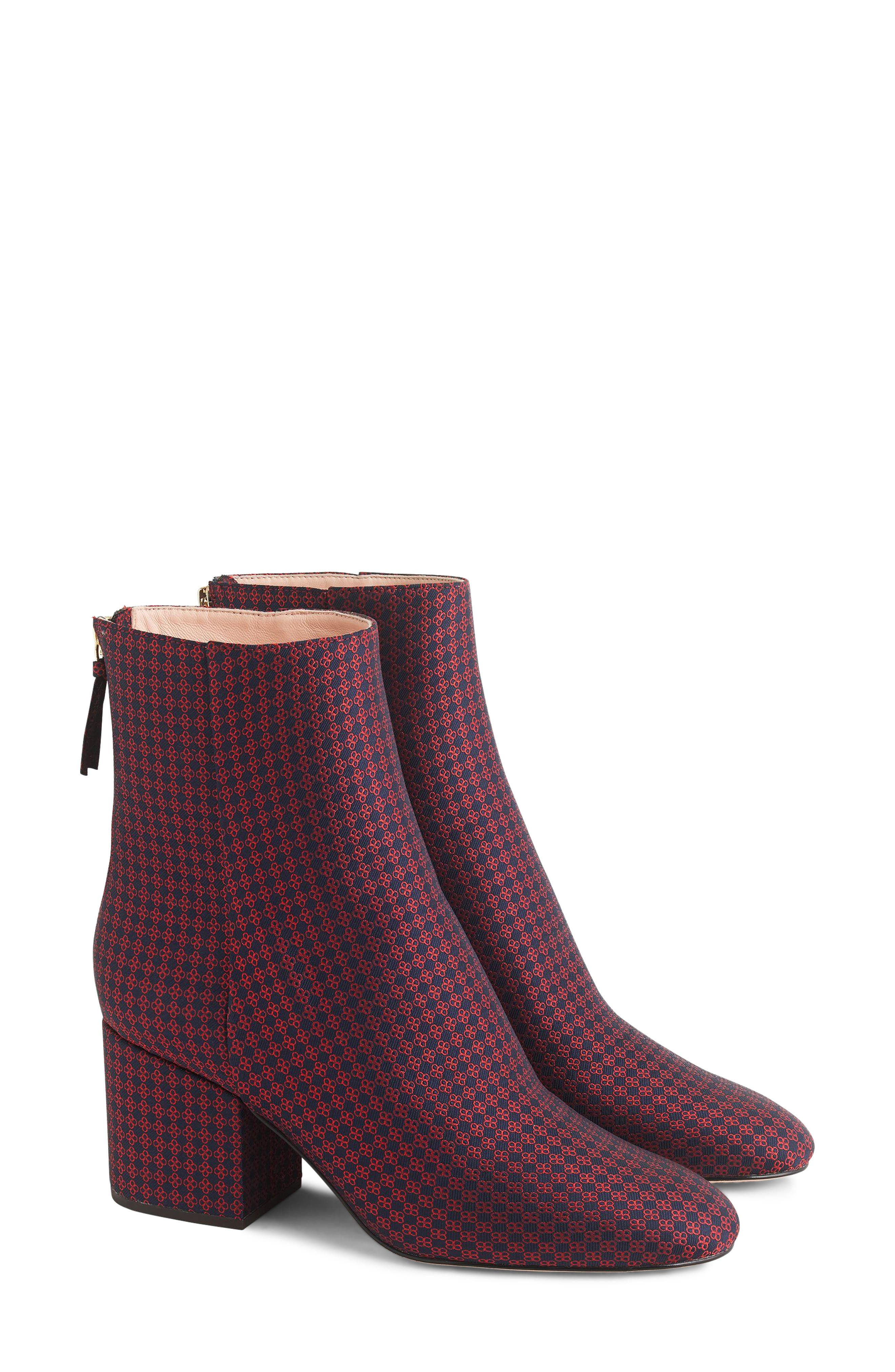 Maya Ankle Bootie,                         Main,                         color, NAVY/ RED PLAID