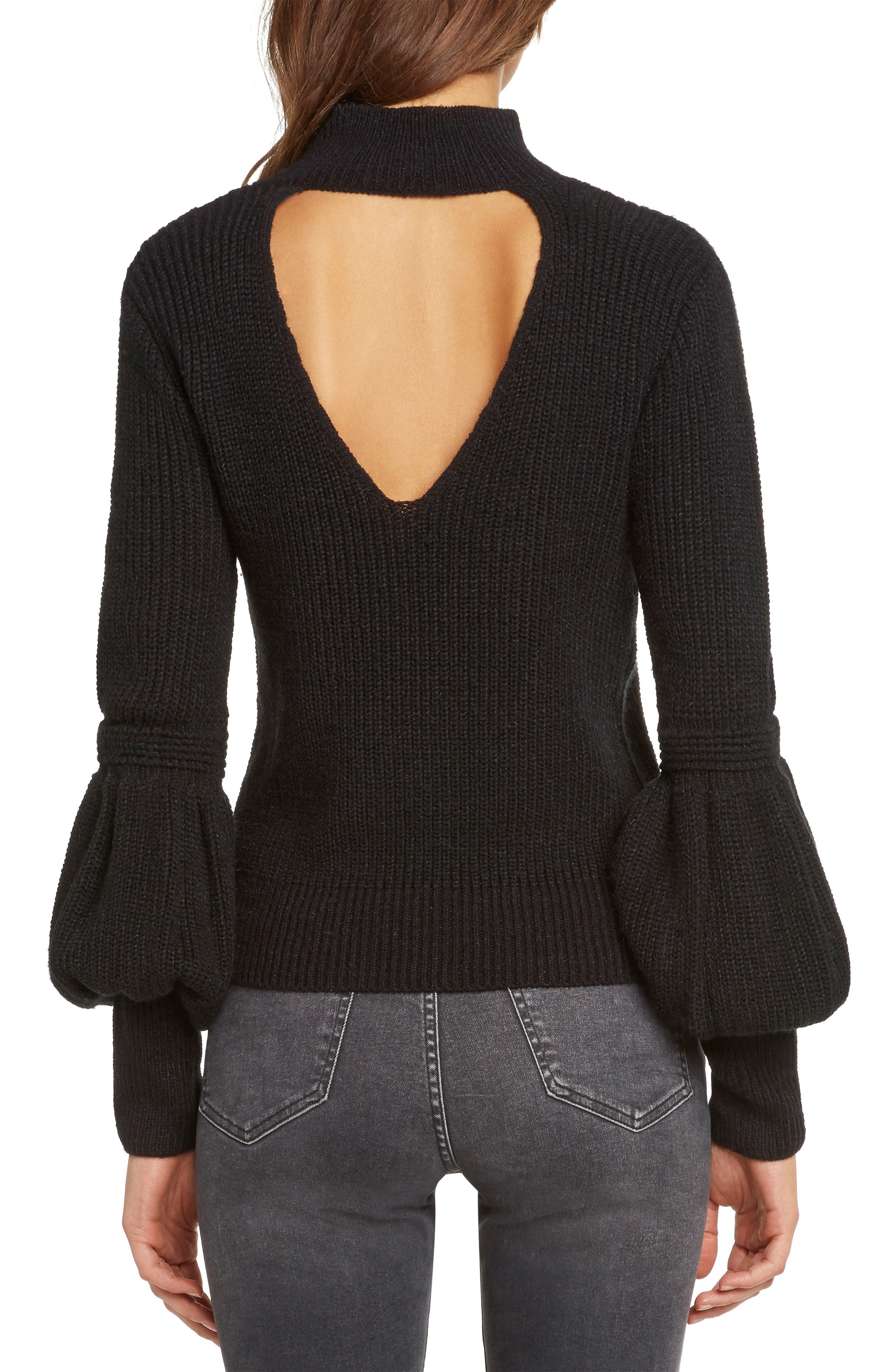 Bishop Sleeve Back Cutout Sweater,                             Alternate thumbnail 3, color,                             BLACK