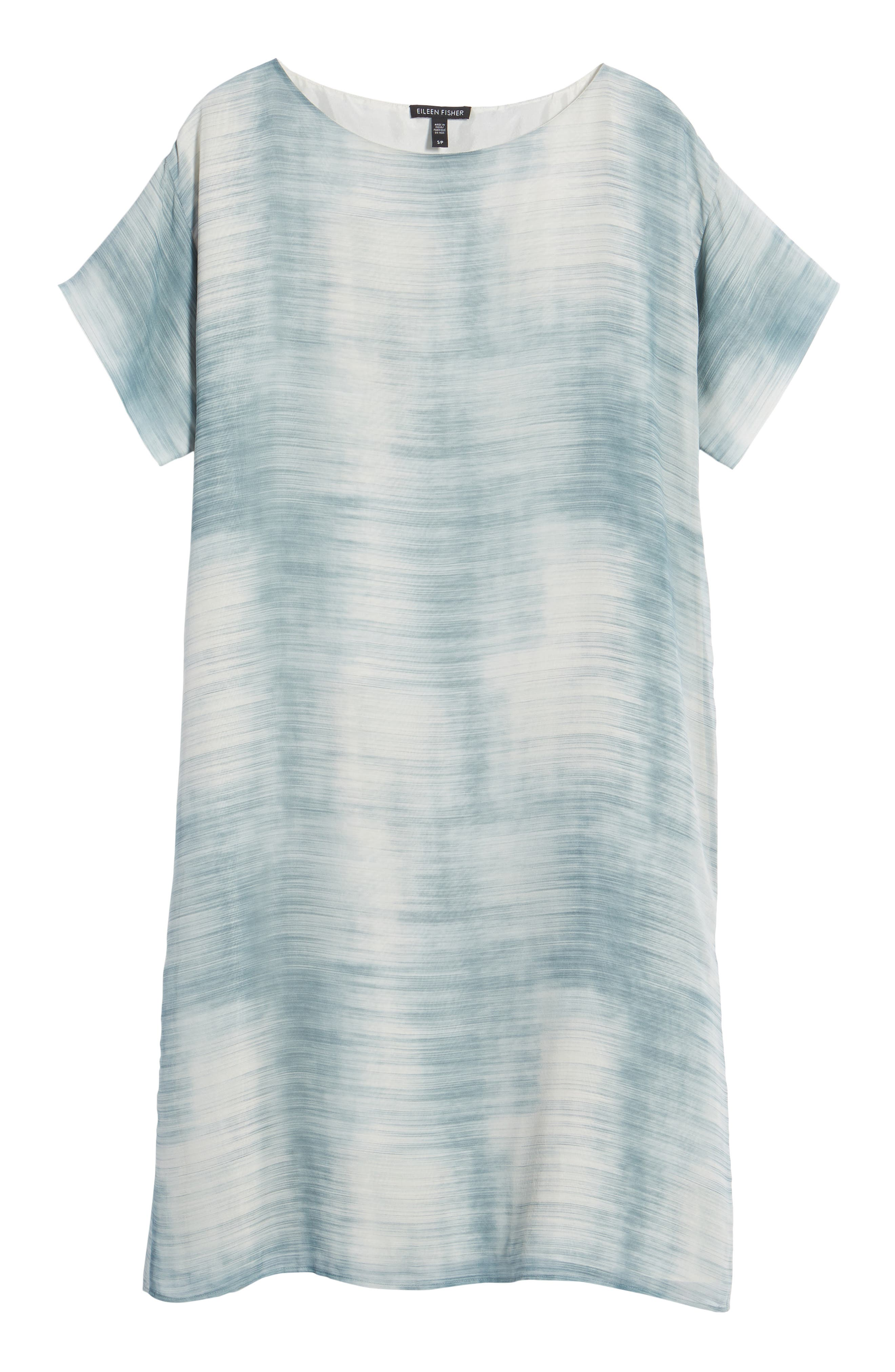 Bateau Neck Silk Shift Dress,                             Alternate thumbnail 13, color,