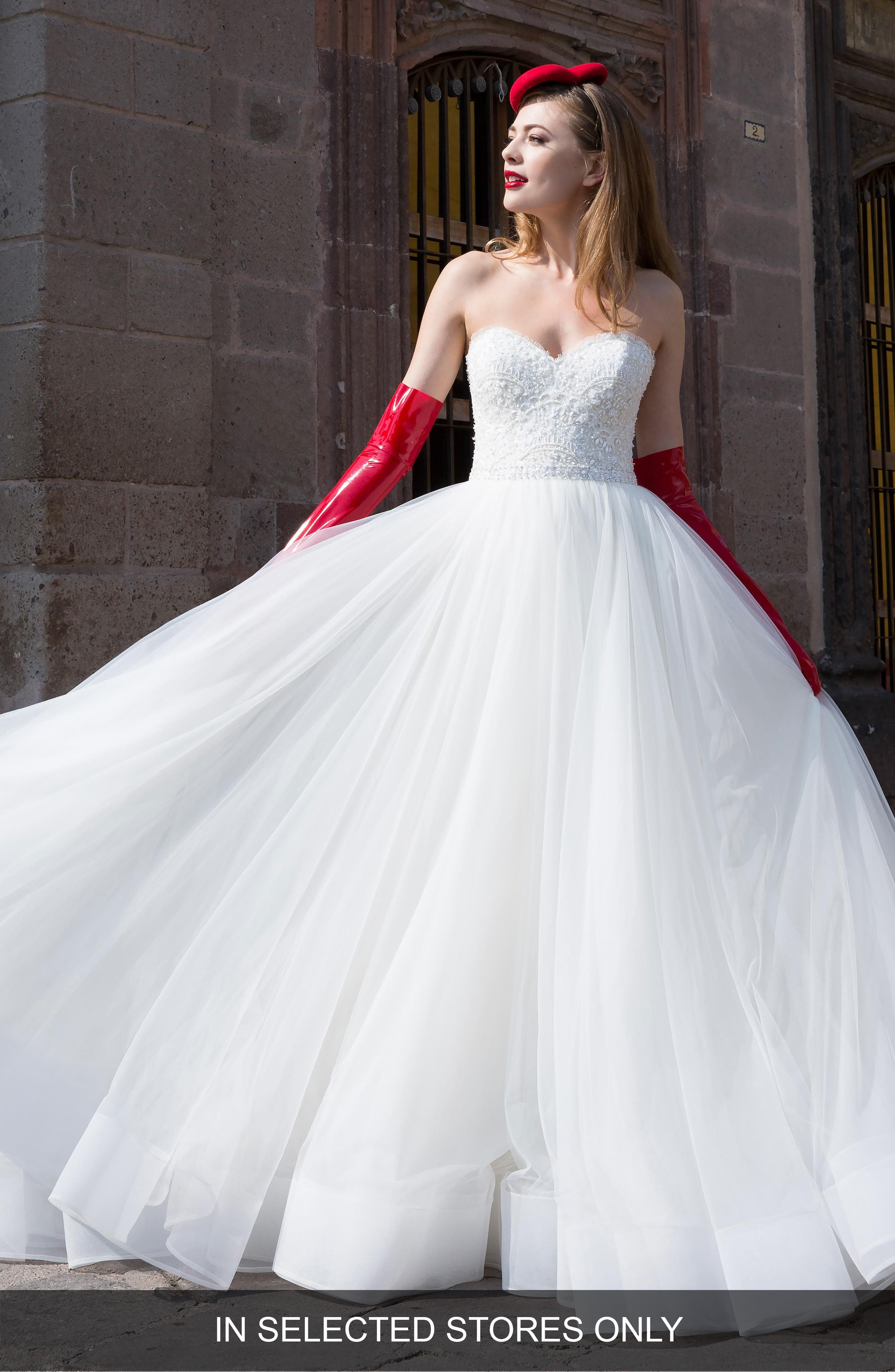 Zarah Beaded Silk Lace & Tulle Strapless Ballgown,                             Main thumbnail 1, color,                             IVORY/ OYSTER