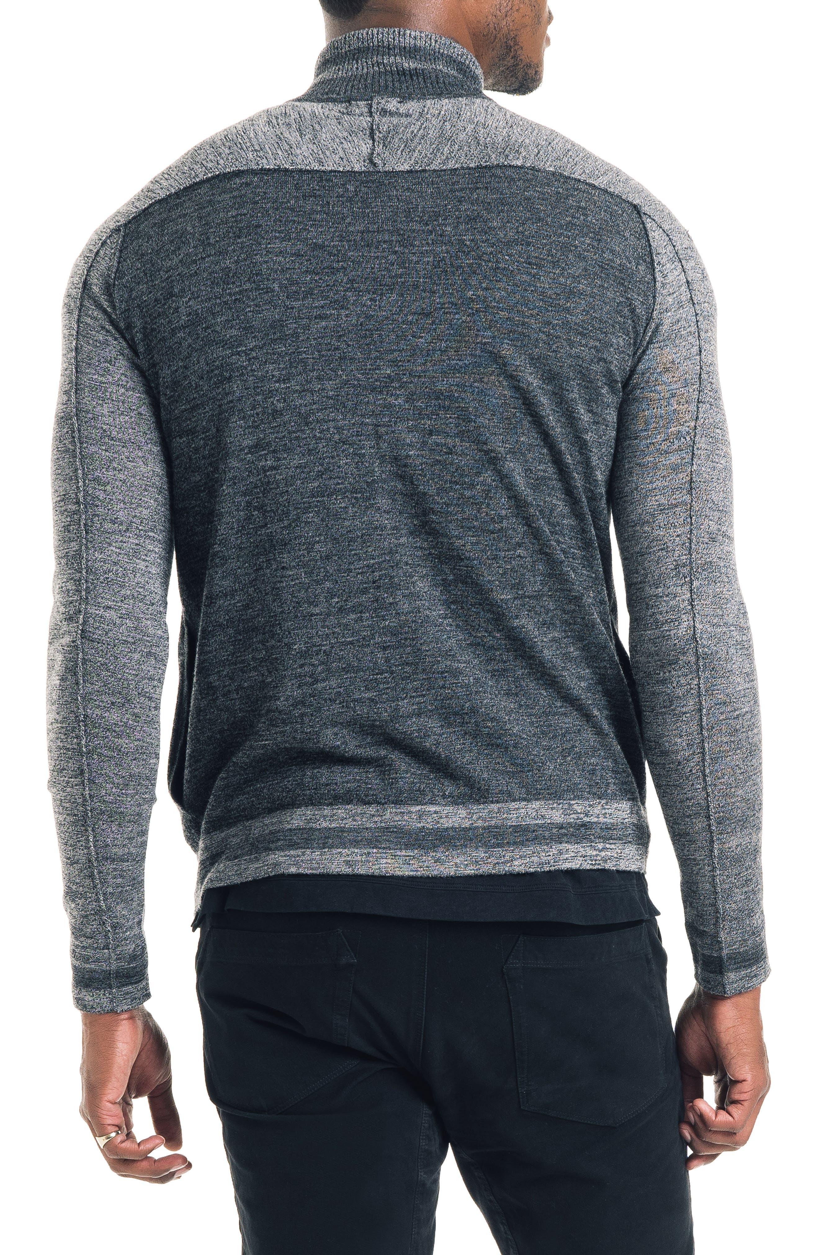 Modern Slim Fit Merino Wool Track Jacket,                             Alternate thumbnail 2, color,                             BLACK