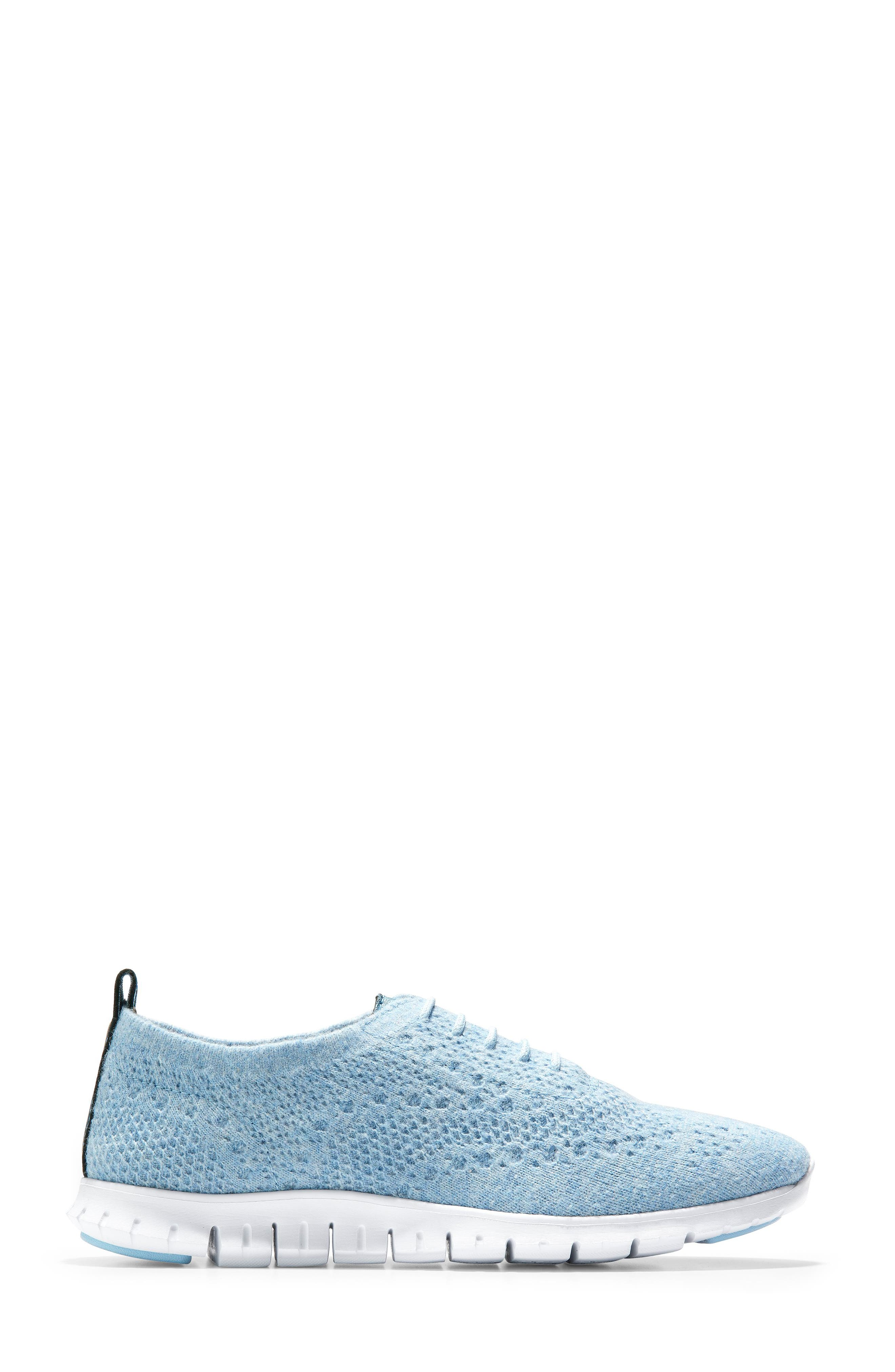 COLE HAAN,                             ZeroGrand Stitchlite Wool Flat,                             Alternate thumbnail 3, color,                             CHAMBRAY BLUE FABRIC