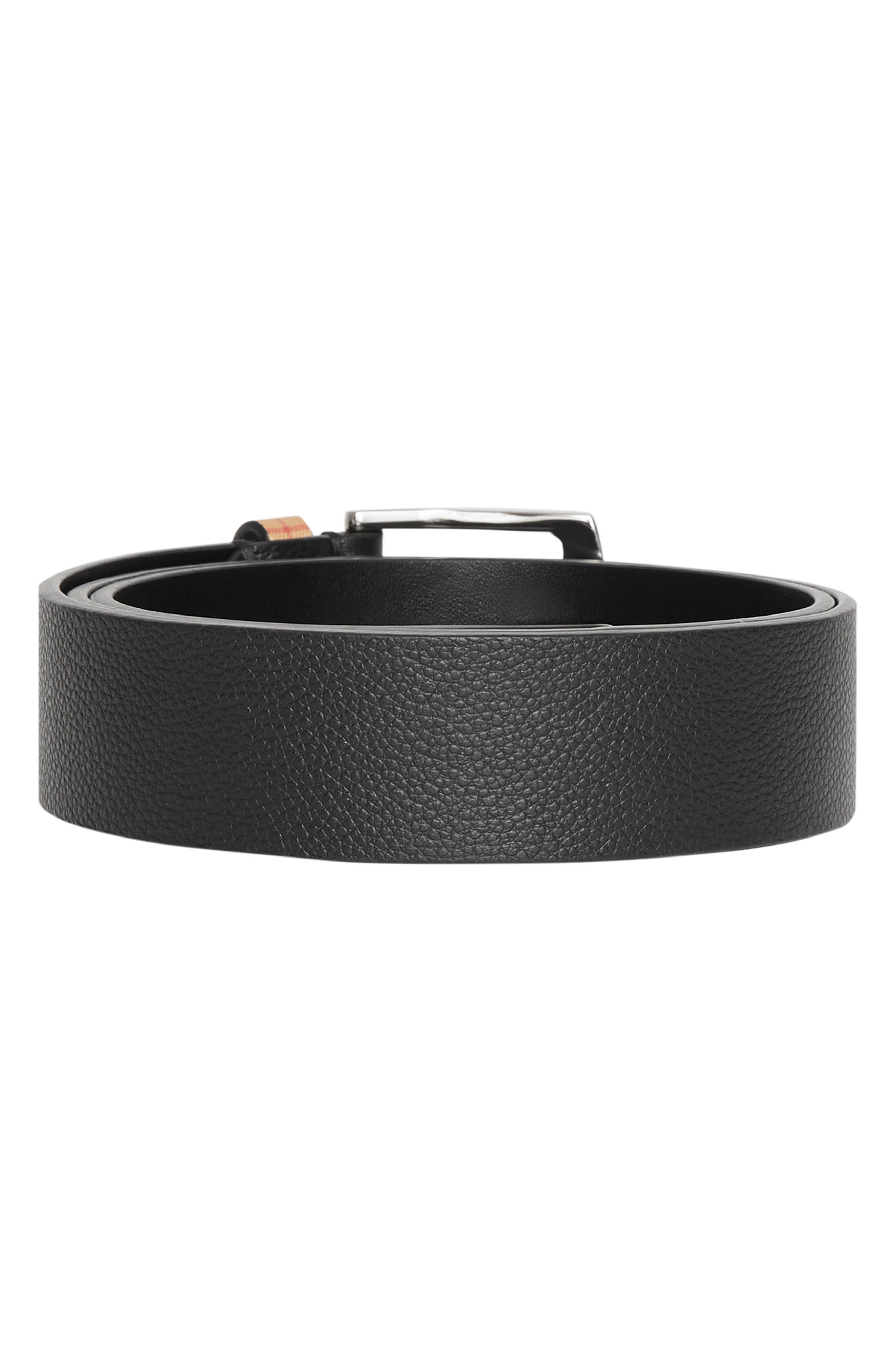 BURBERRY,                             Grainy Leather Belt,                             Alternate thumbnail 3, color,                             BLACK