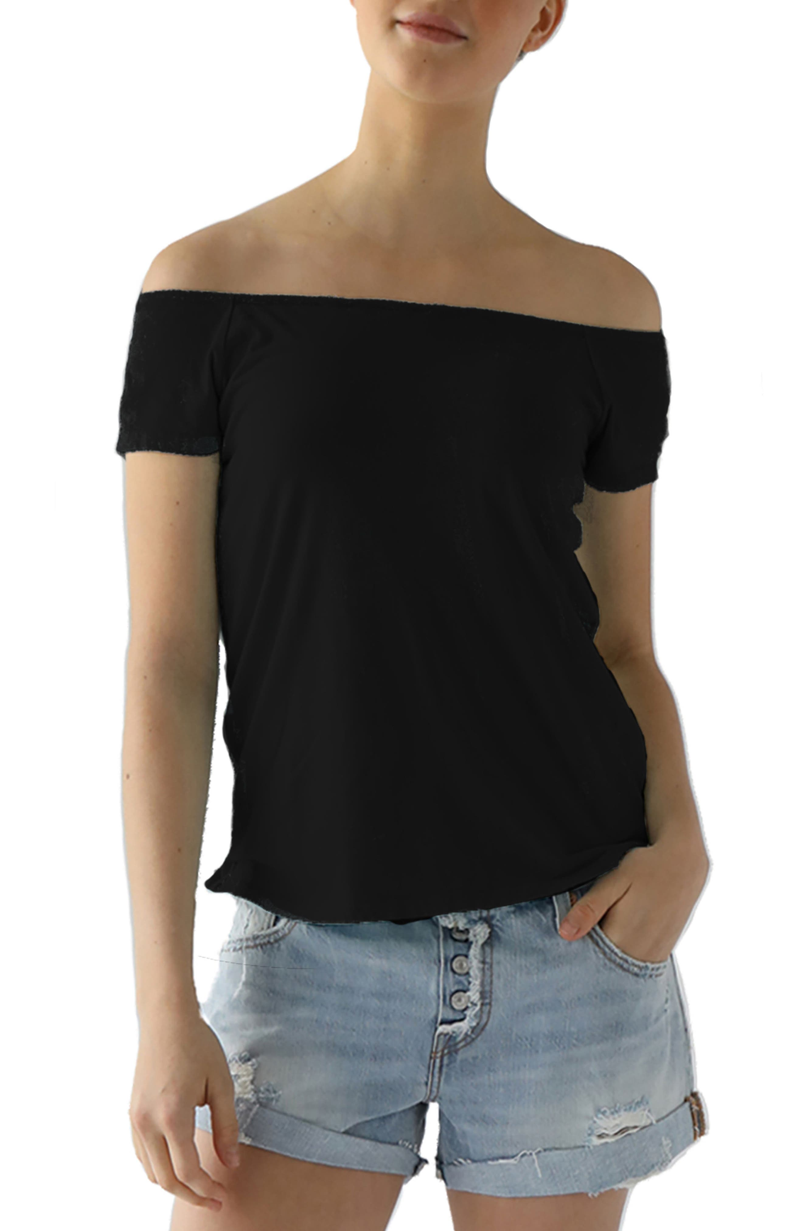 Imelda Tissue Jersey Off the Shoulder Tee,                             Main thumbnail 1, color,                             001