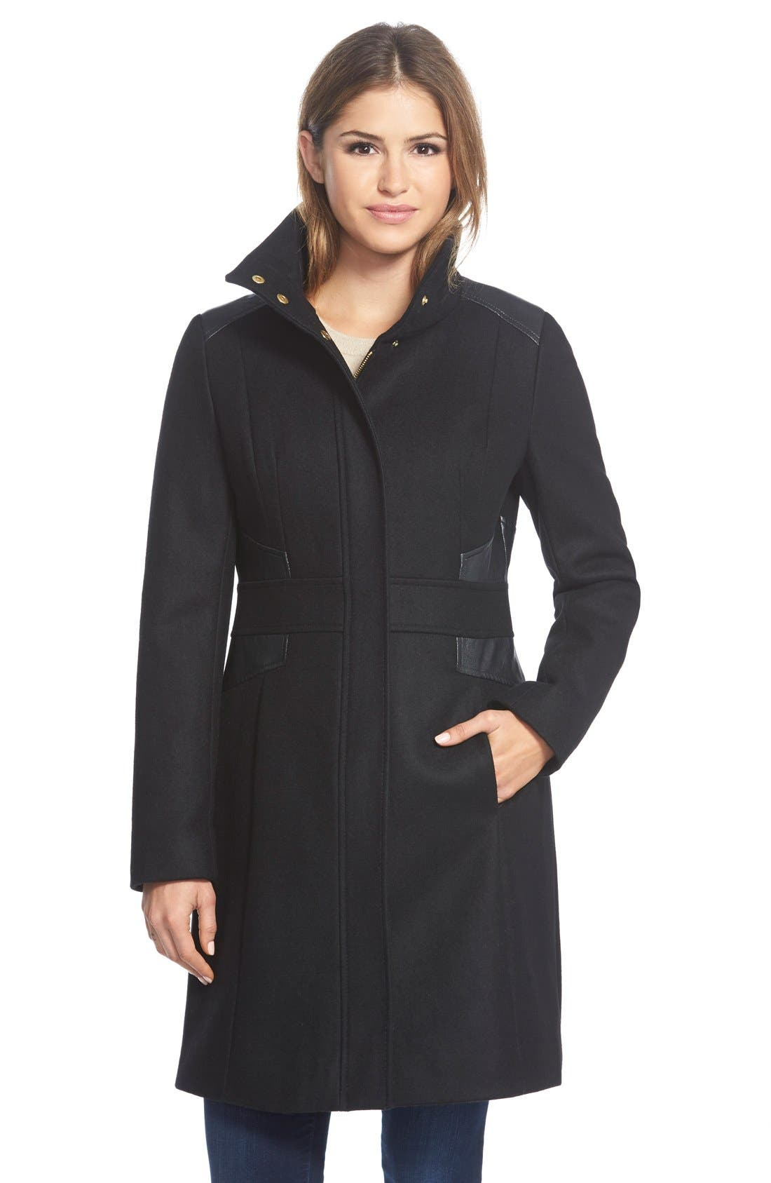 Wool Blend Coat with Faux Leather Trim,                         Main,                         color, 001