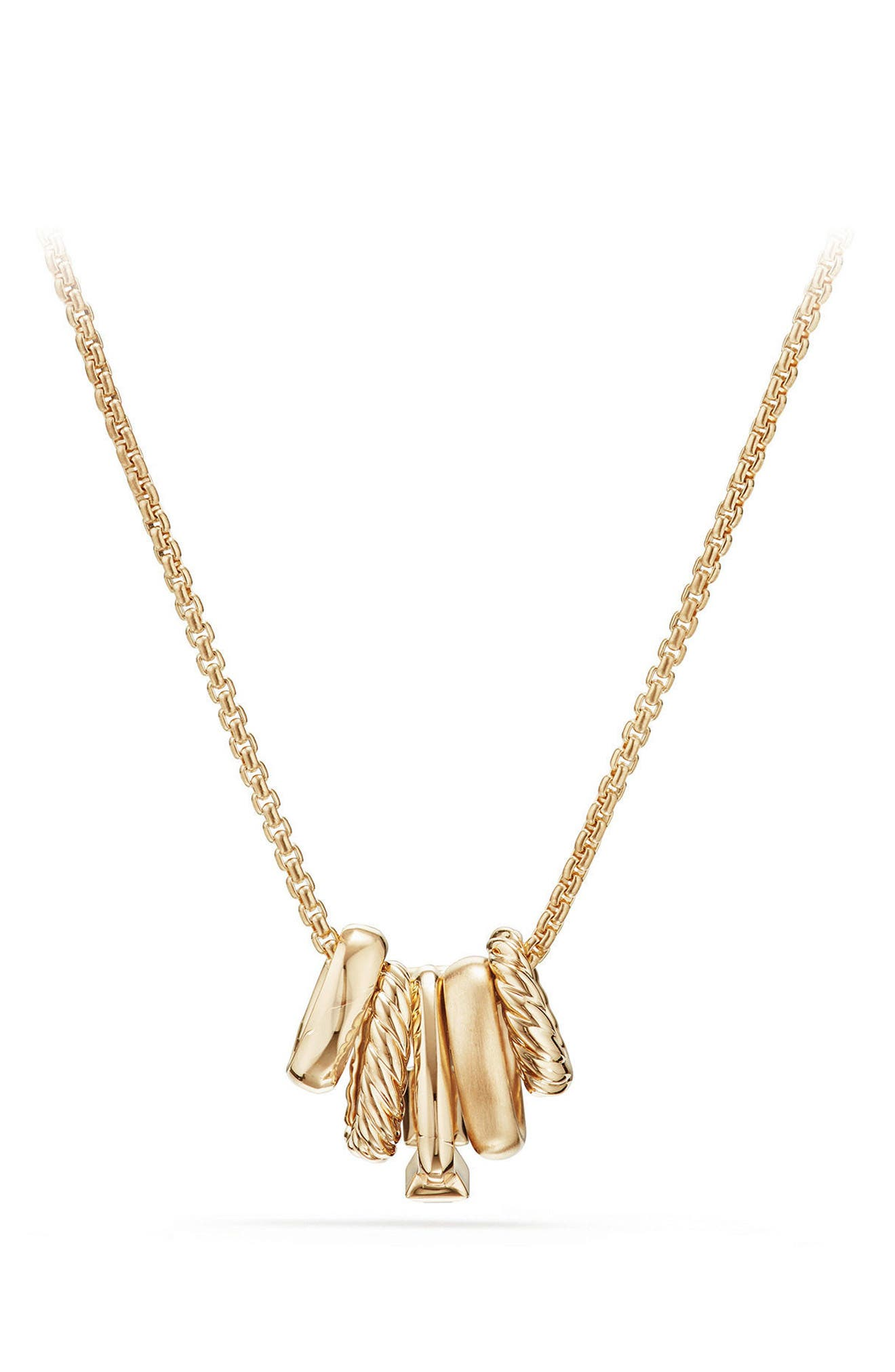 Stax Pendant Necklace with Diamonds in 18K Gold,                             Alternate thumbnail 3, color,                             BLACK SPINEL