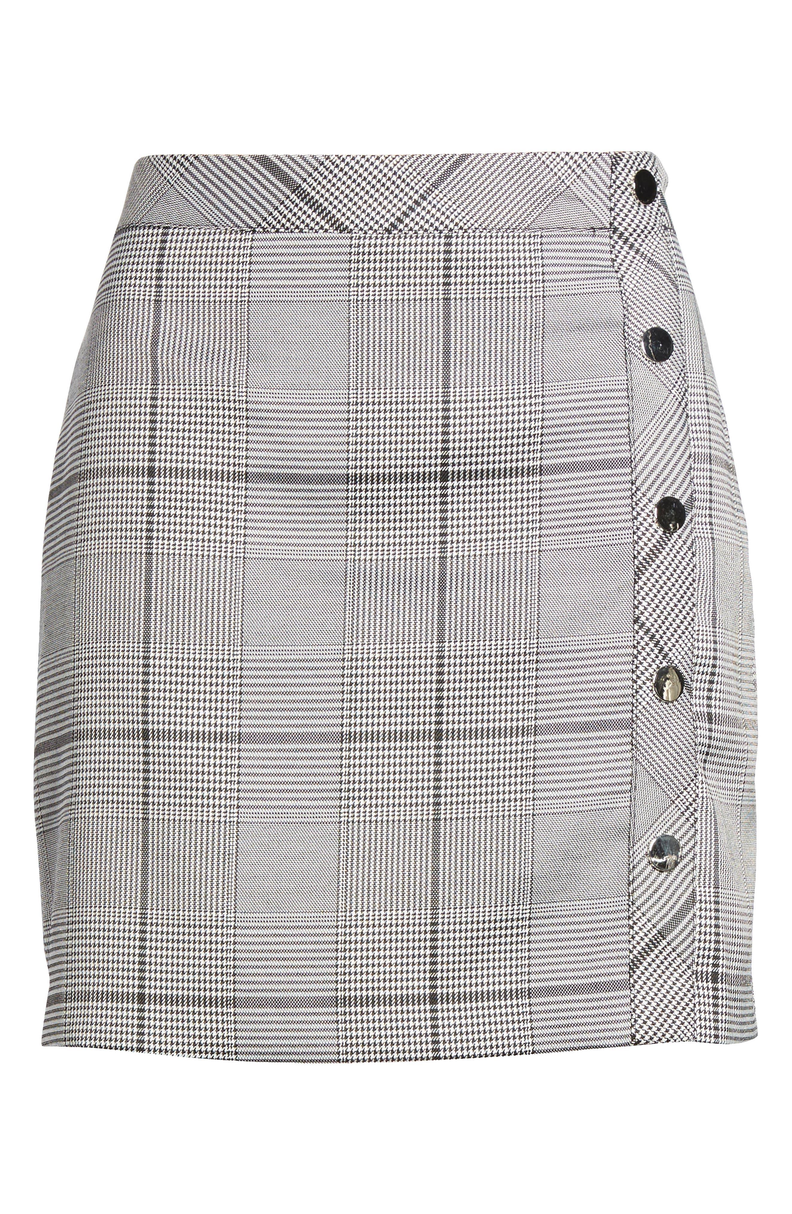 Button Plaid Miniskirt,                             Alternate thumbnail 6, color,                             001