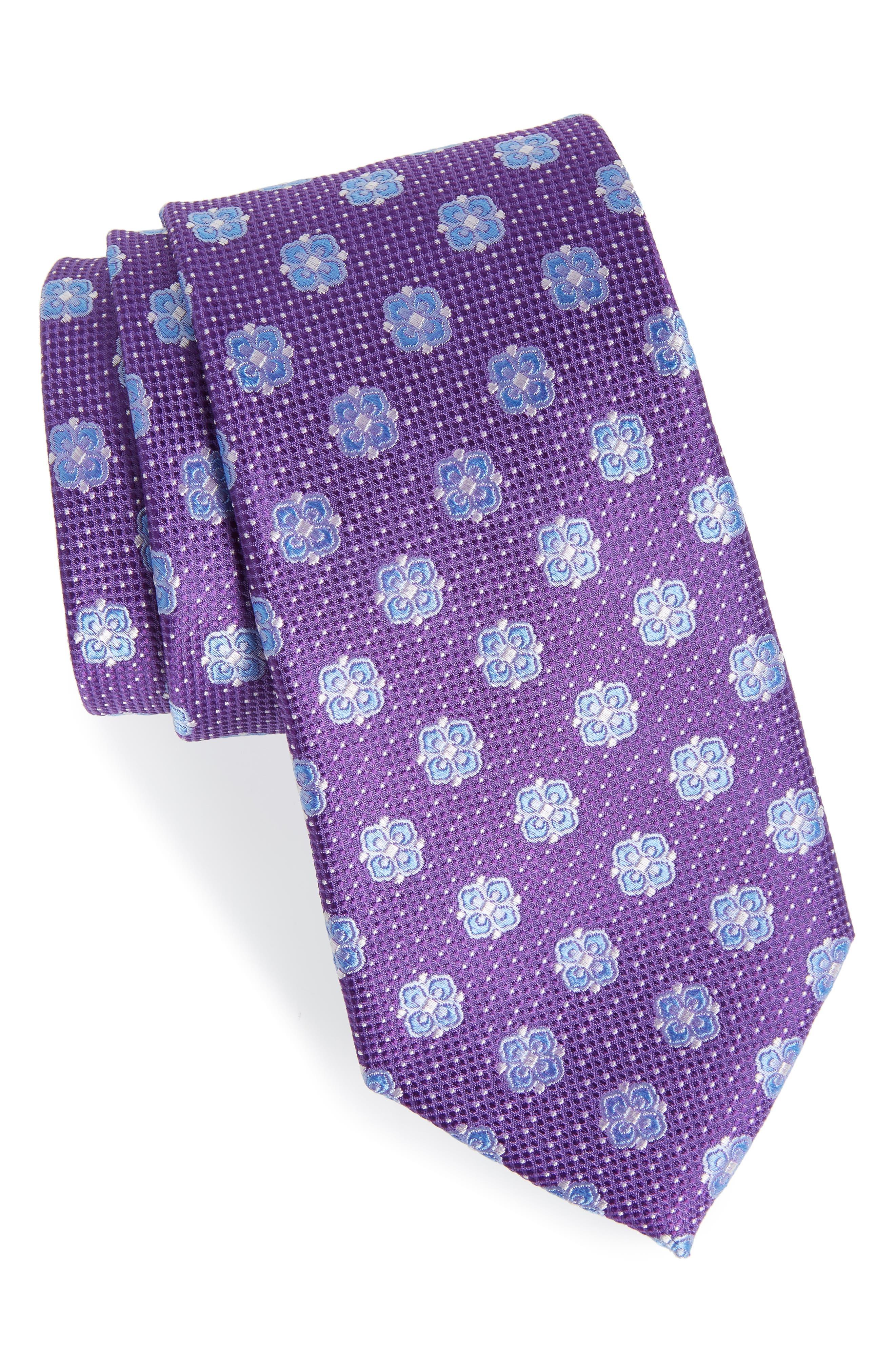 Matteo Floral Silk Tie,                         Main,                         color, PURPLE