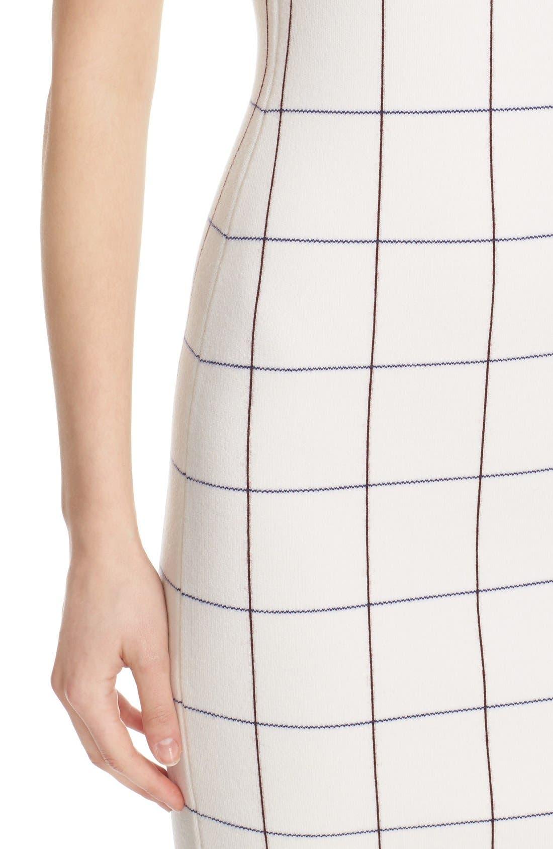 Victoria Beckham Intarsia Check Sheath Dress,                             Alternate thumbnail 6, color,                             100