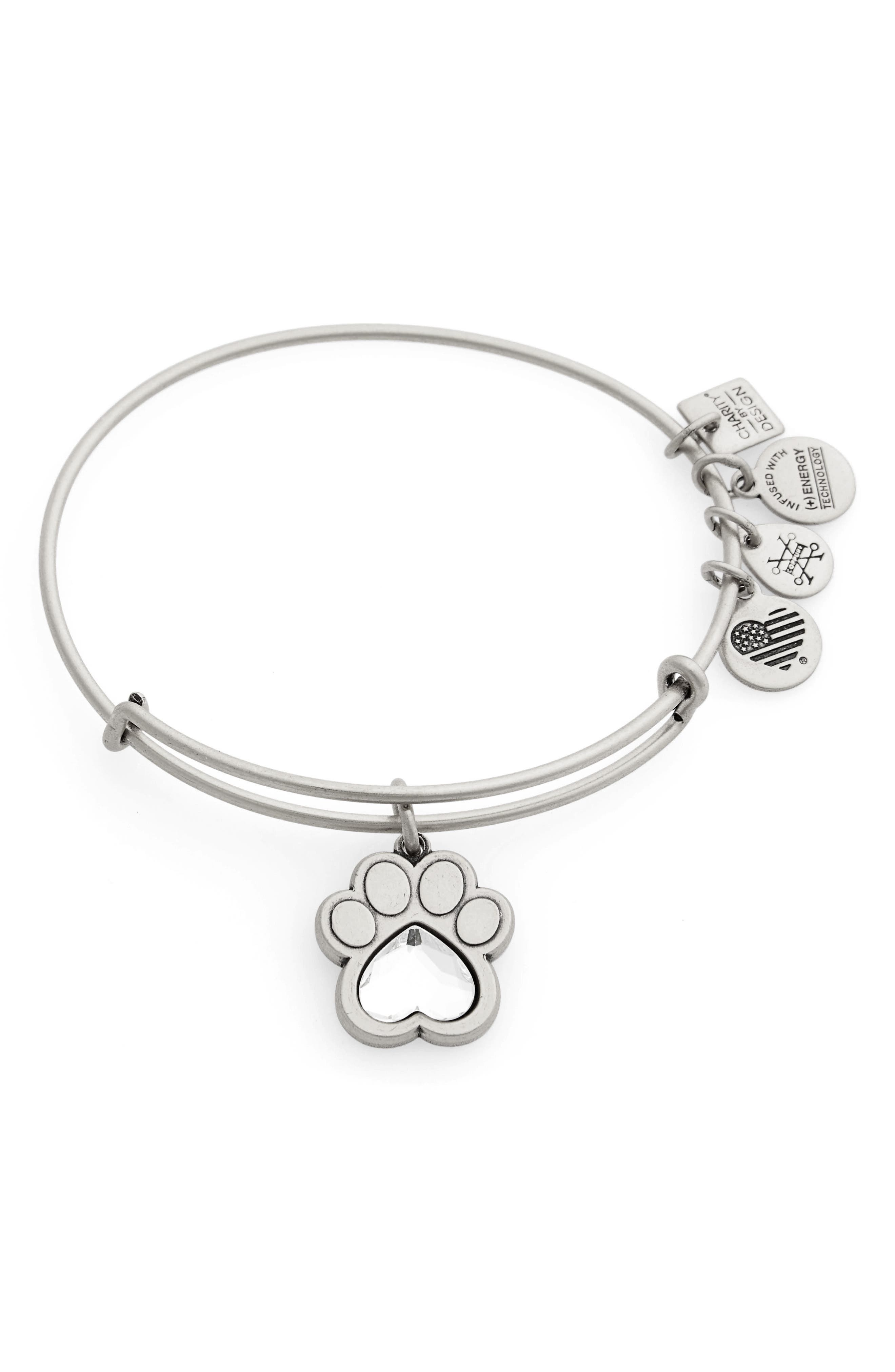 Prints of Love Adjustable Wire Bangle,                             Main thumbnail 1, color,                             SILVER