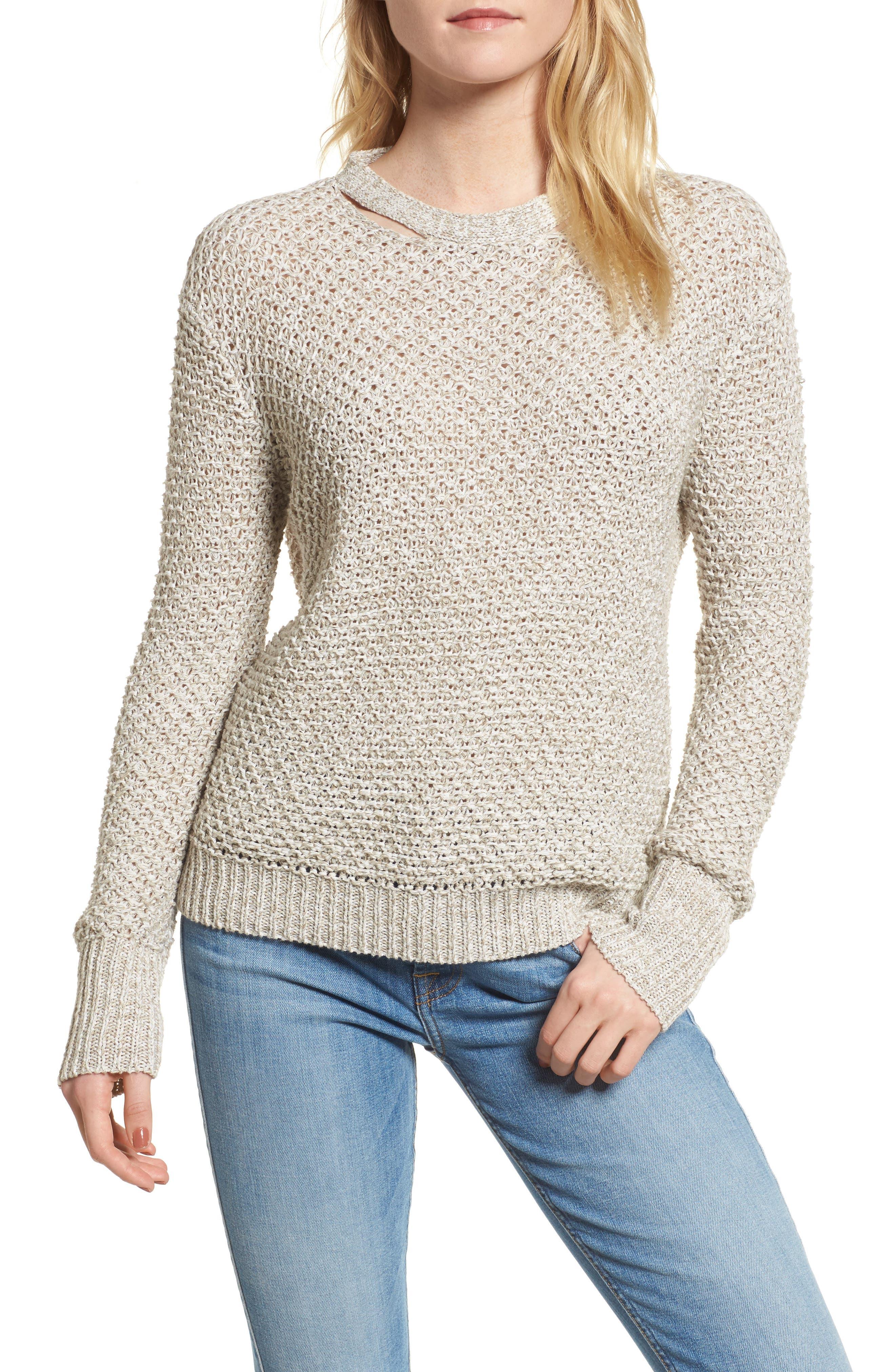 Mélange Open Back Sweater,                             Main thumbnail 1, color,                             238