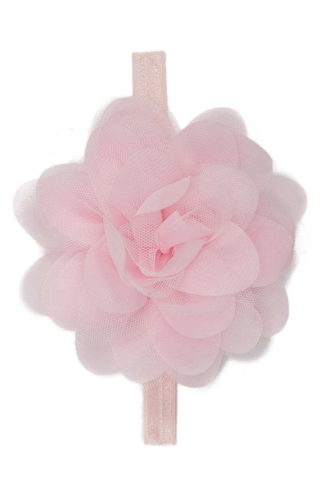 Chiffon & Tulle Flower Head Wrap,                         Main,                         color, BLUSH