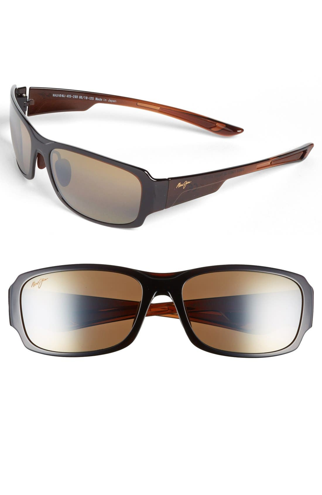 'Forest - PolarizedPlus<sup>®</sup>2' 60mm Sunglasses,                         Main,                         color, ROOTBEER FADE
