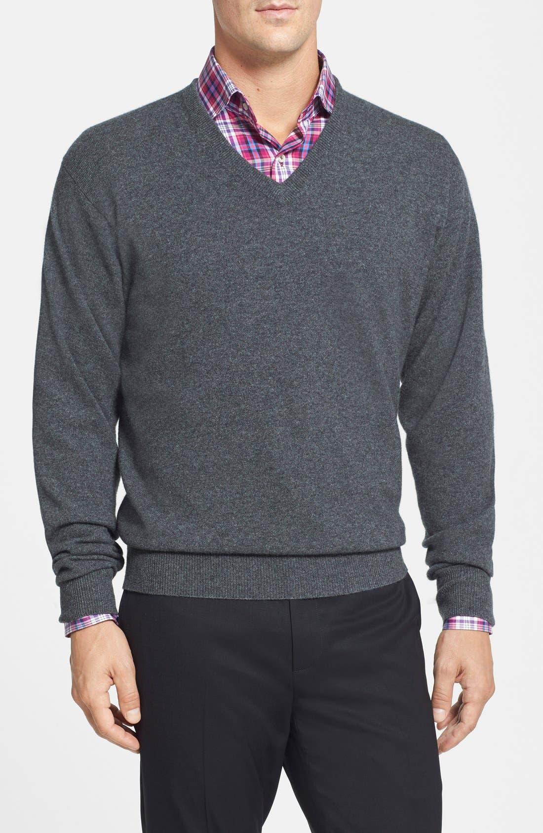 Cashmere V-Neck Sweater,                             Main thumbnail 1, color,                             022