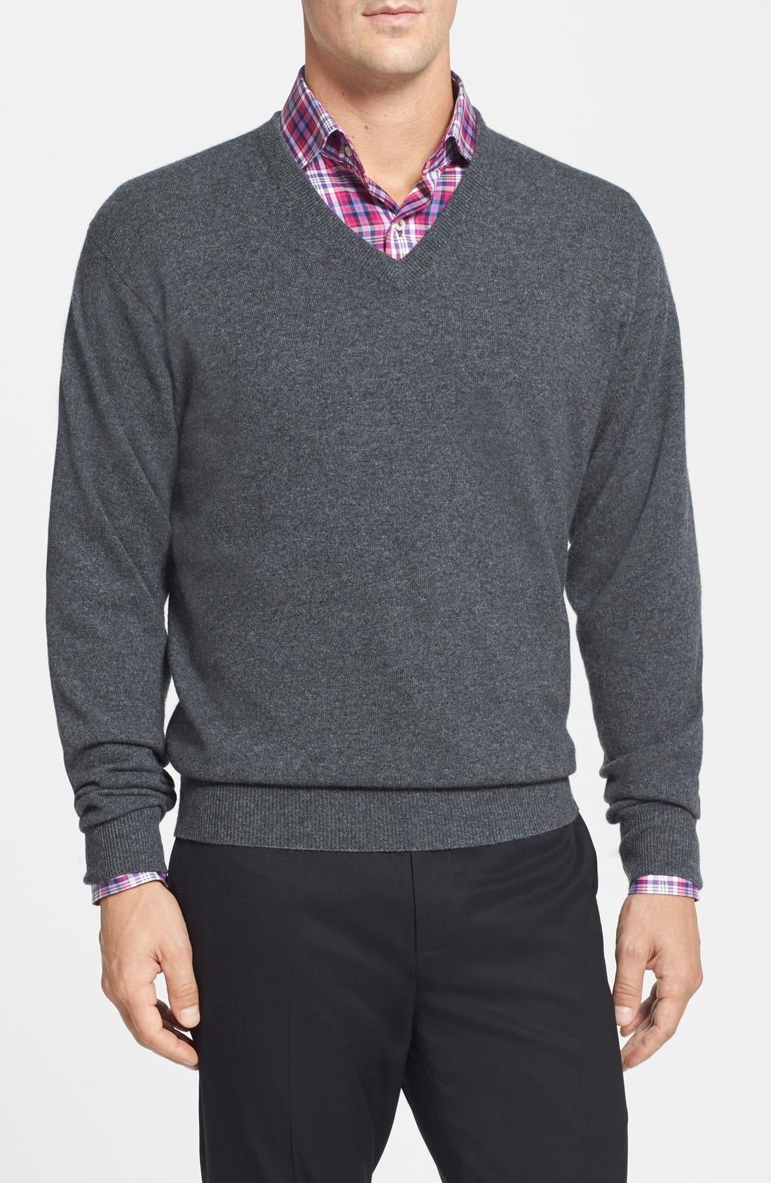 Cashmere V-Neck Sweater, Main, color, 022