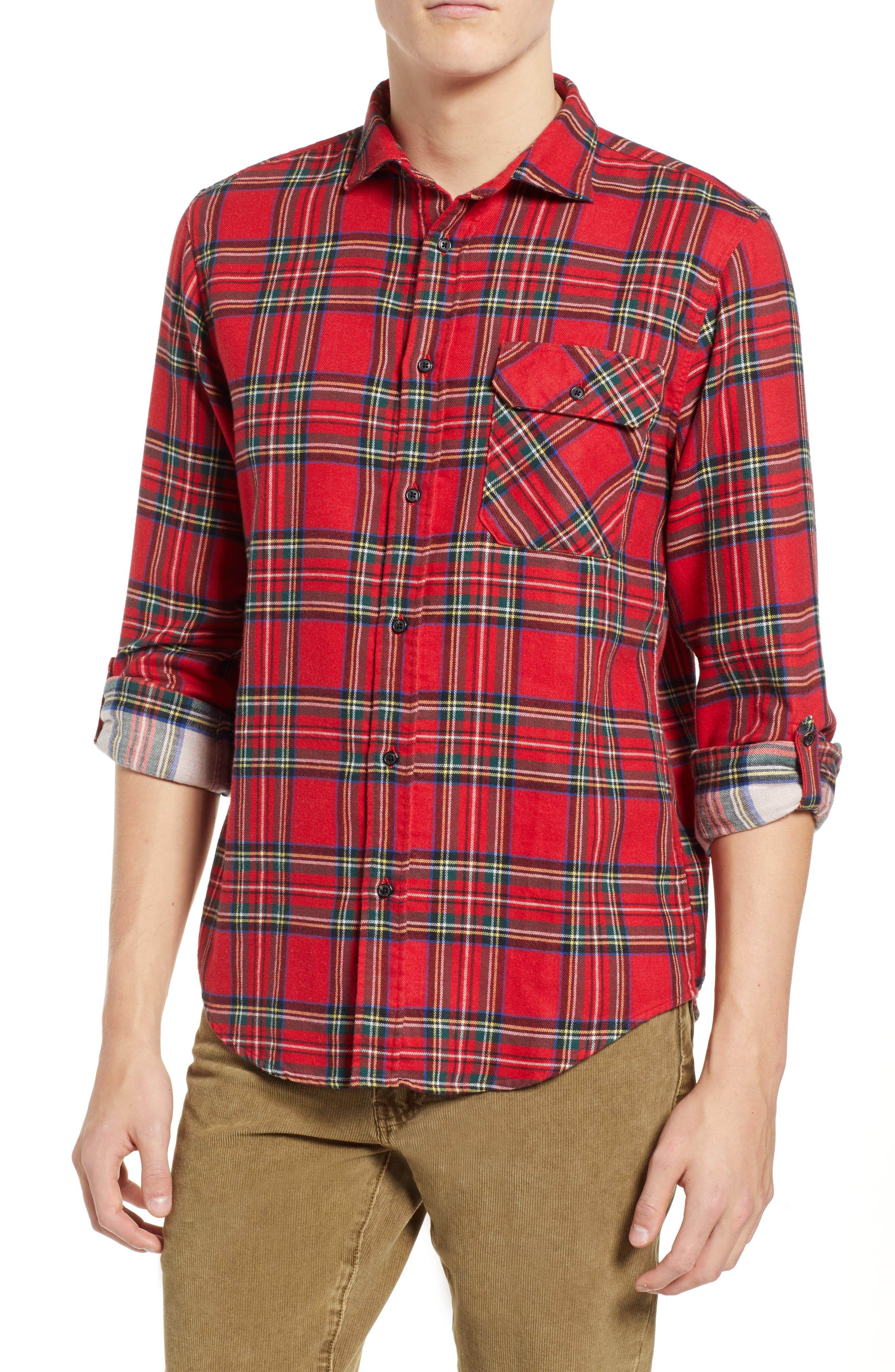 Plaid Flannel Shirt,                         Main,                         color, COMBO A