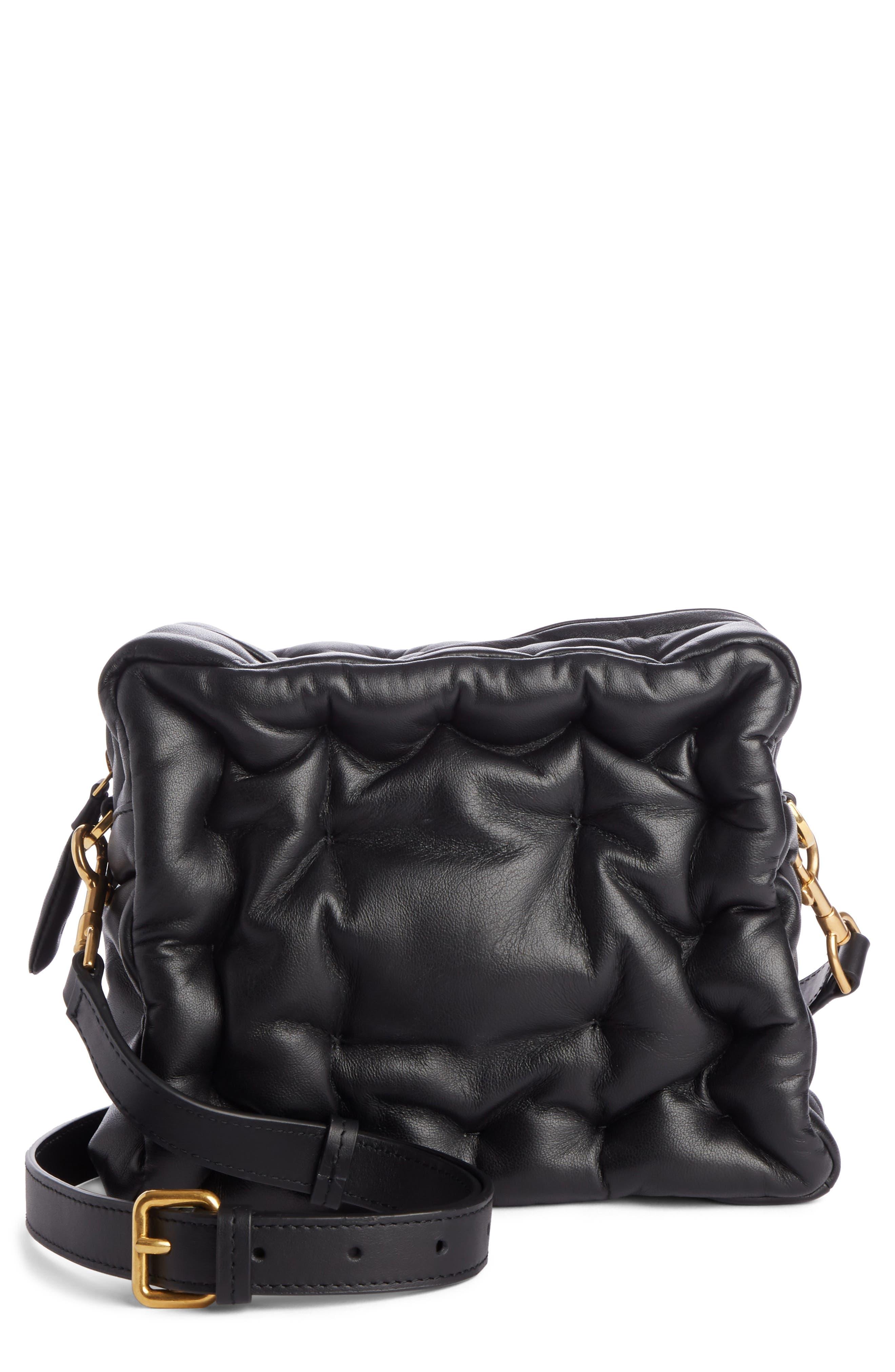 Chubby Cube Leather Crossbody Bag,                         Main,                         color, BLACK