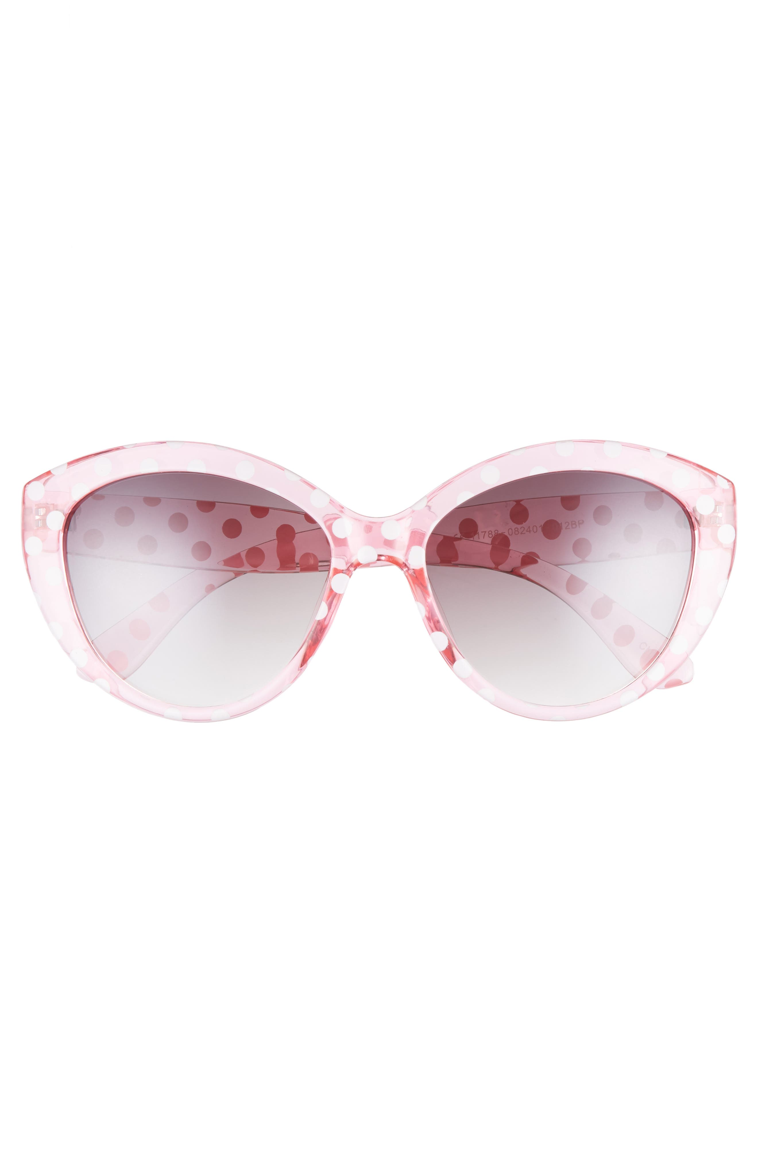 55mm Translucent Polka Dot Cat Eye Sunglasses,                             Alternate thumbnail 3, color,                             PINK/ BLACK