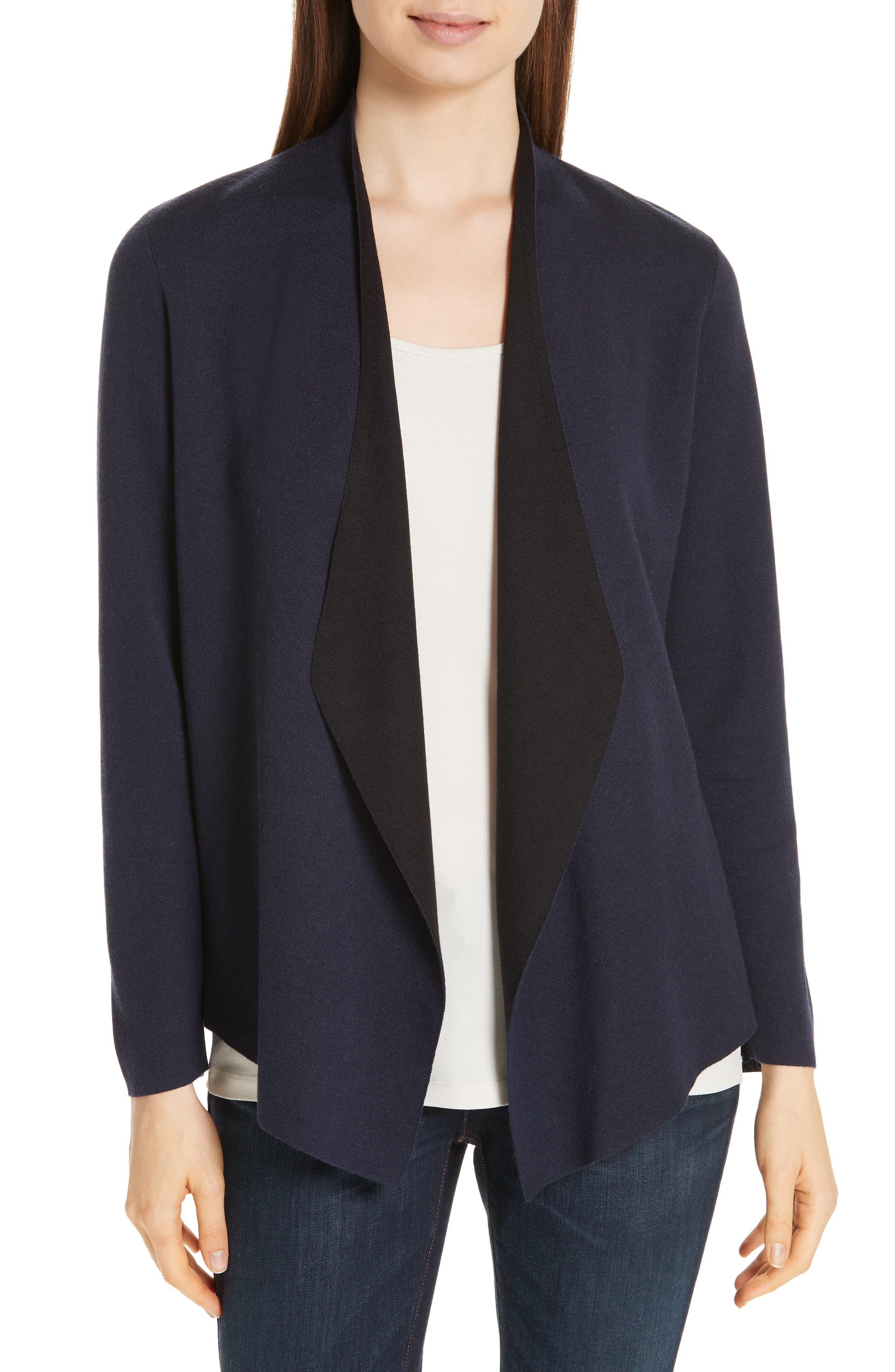 EILEEN FISHER,                             Shaped Waterfall Cardigan,                             Main thumbnail 1, color,                             MIDNIGHT