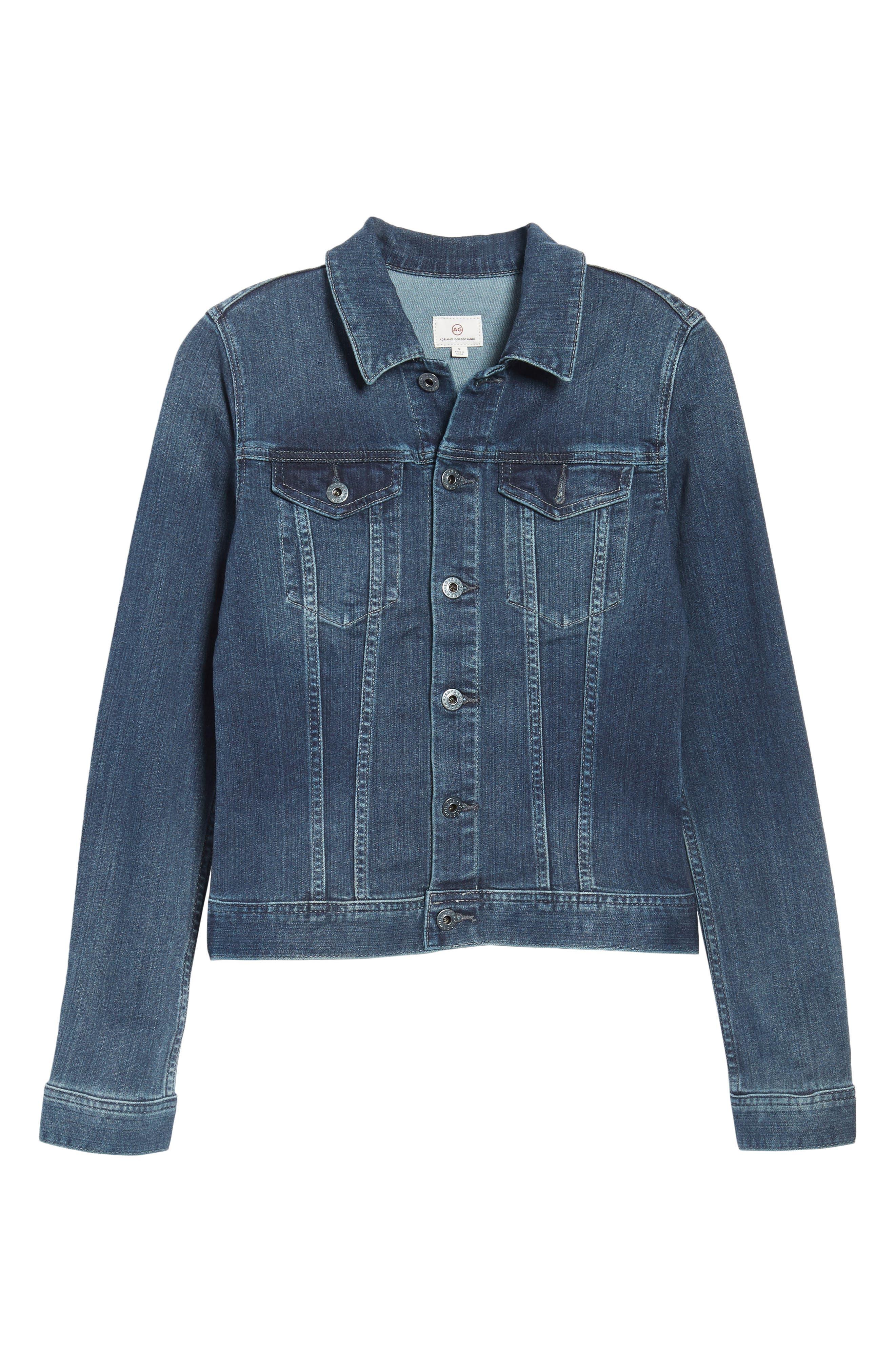 'Robyn' Denim Jacket,                             Alternate thumbnail 6, color,                             BLUE COVE
