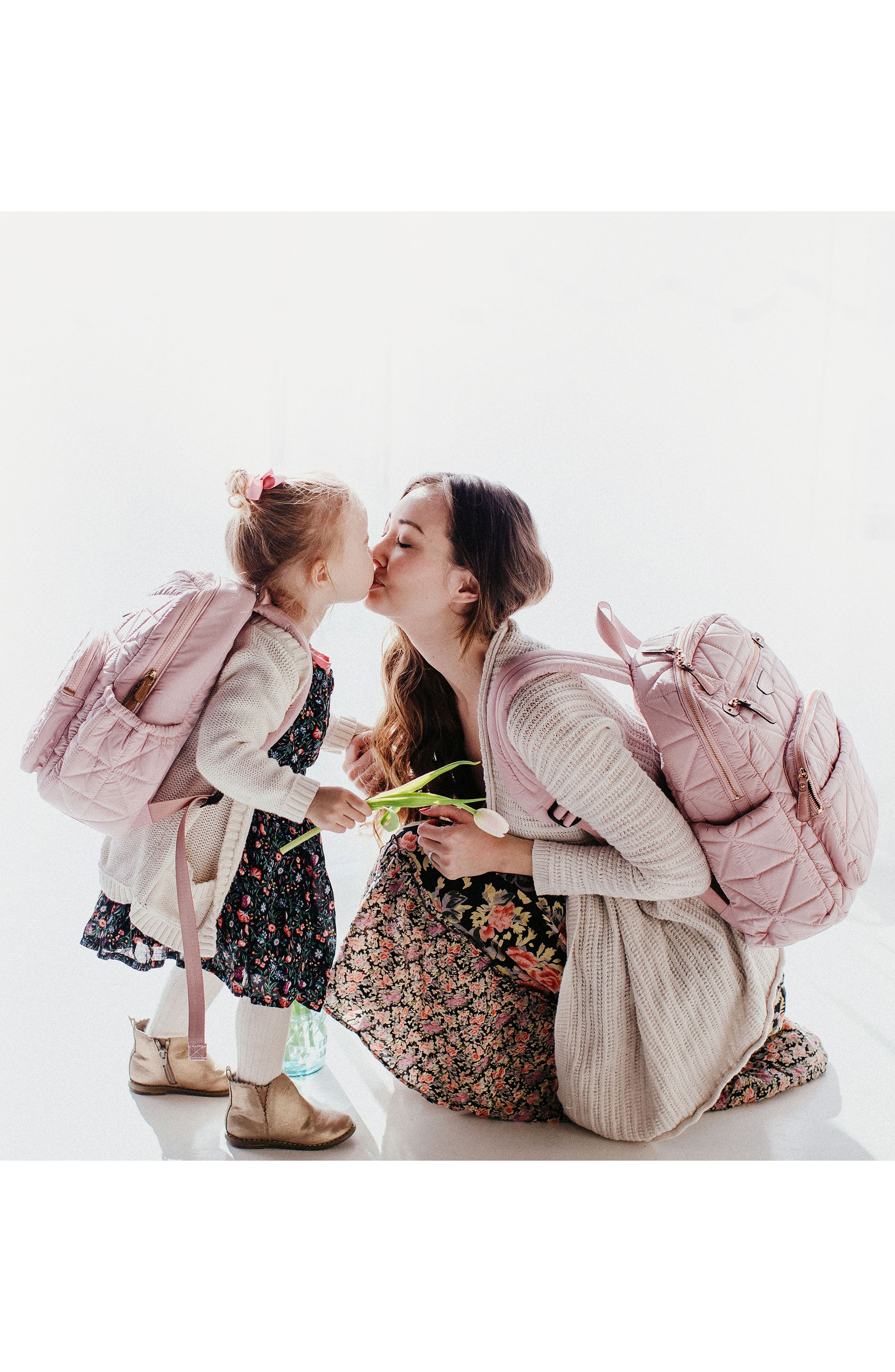 'Companion Backpack' Quilted Nylon Diaper Bag,                             Alternate thumbnail 6, color,                             BLUSH PINK