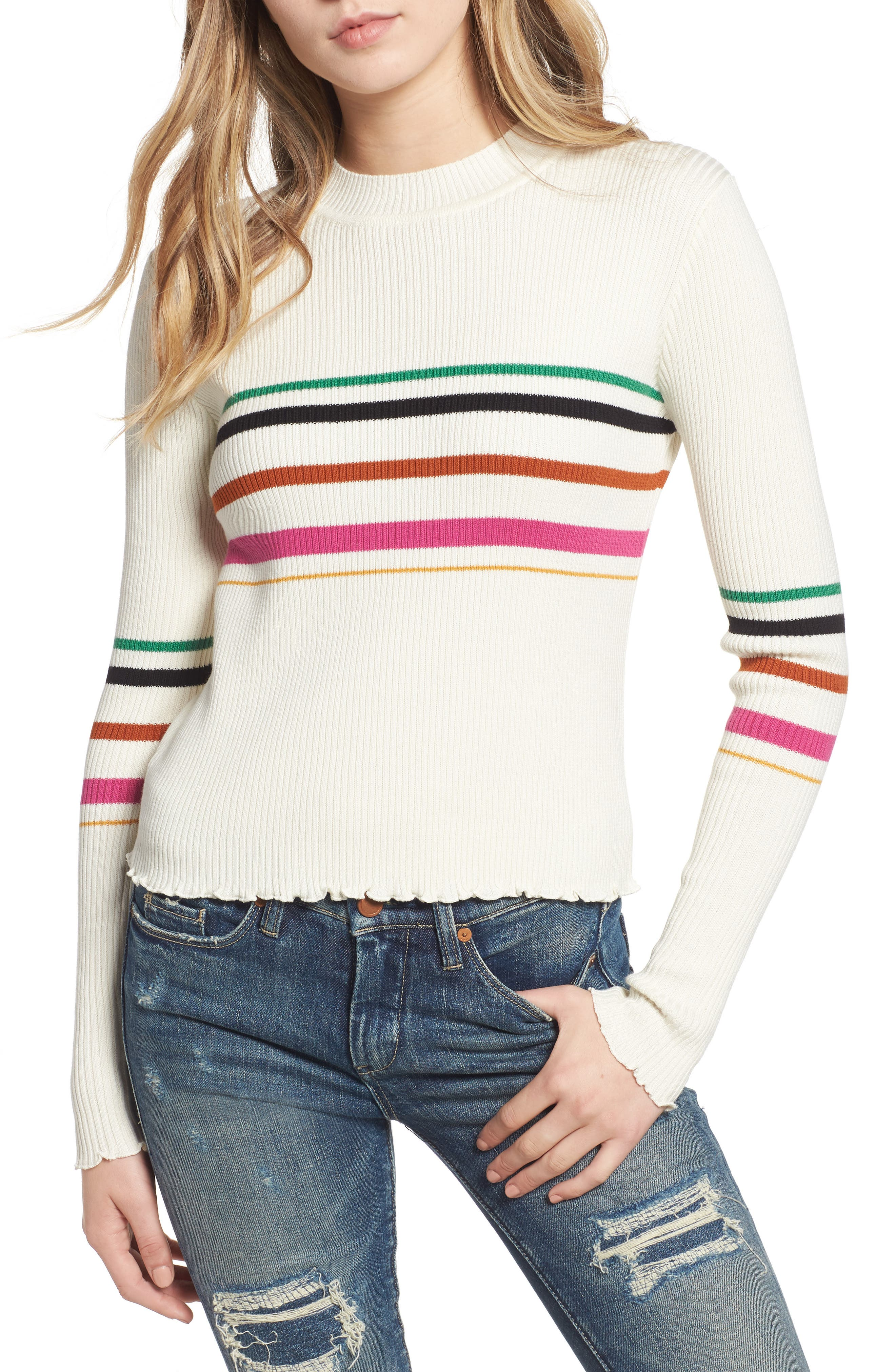 Lettuce Edge Multi Stripe Sweater,                             Main thumbnail 1, color,                             IVORY RILEY STRIPE
