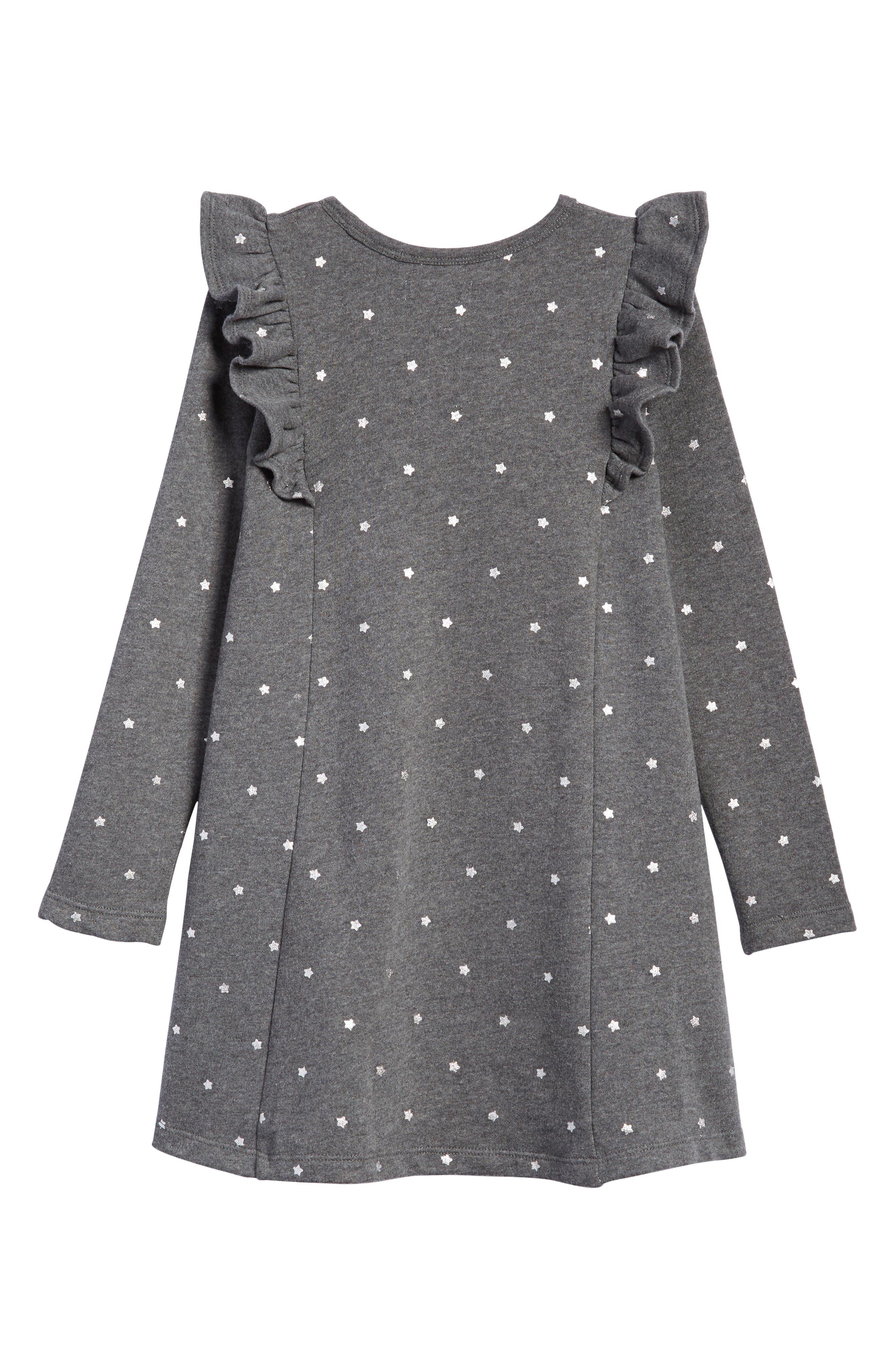 Ruffle Fleece Sweater Dress,                             Alternate thumbnail 2, color,                             GREY CHARCOAL HEATHER STARS