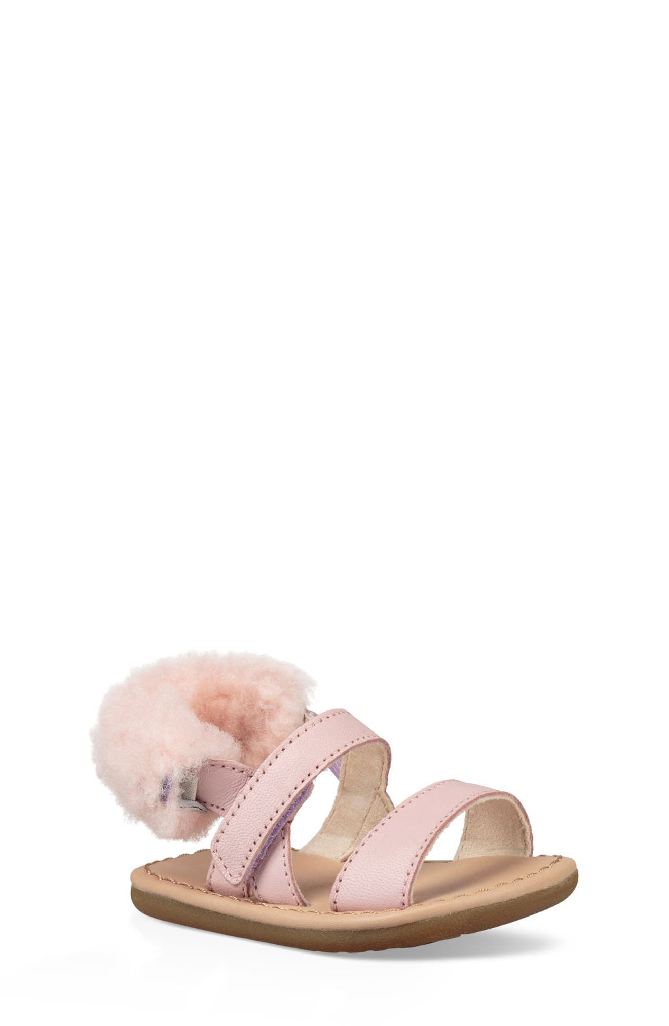 Dorien Genuine Shearling Trim Sandal,                             Main thumbnail 1, color,                             PETAL