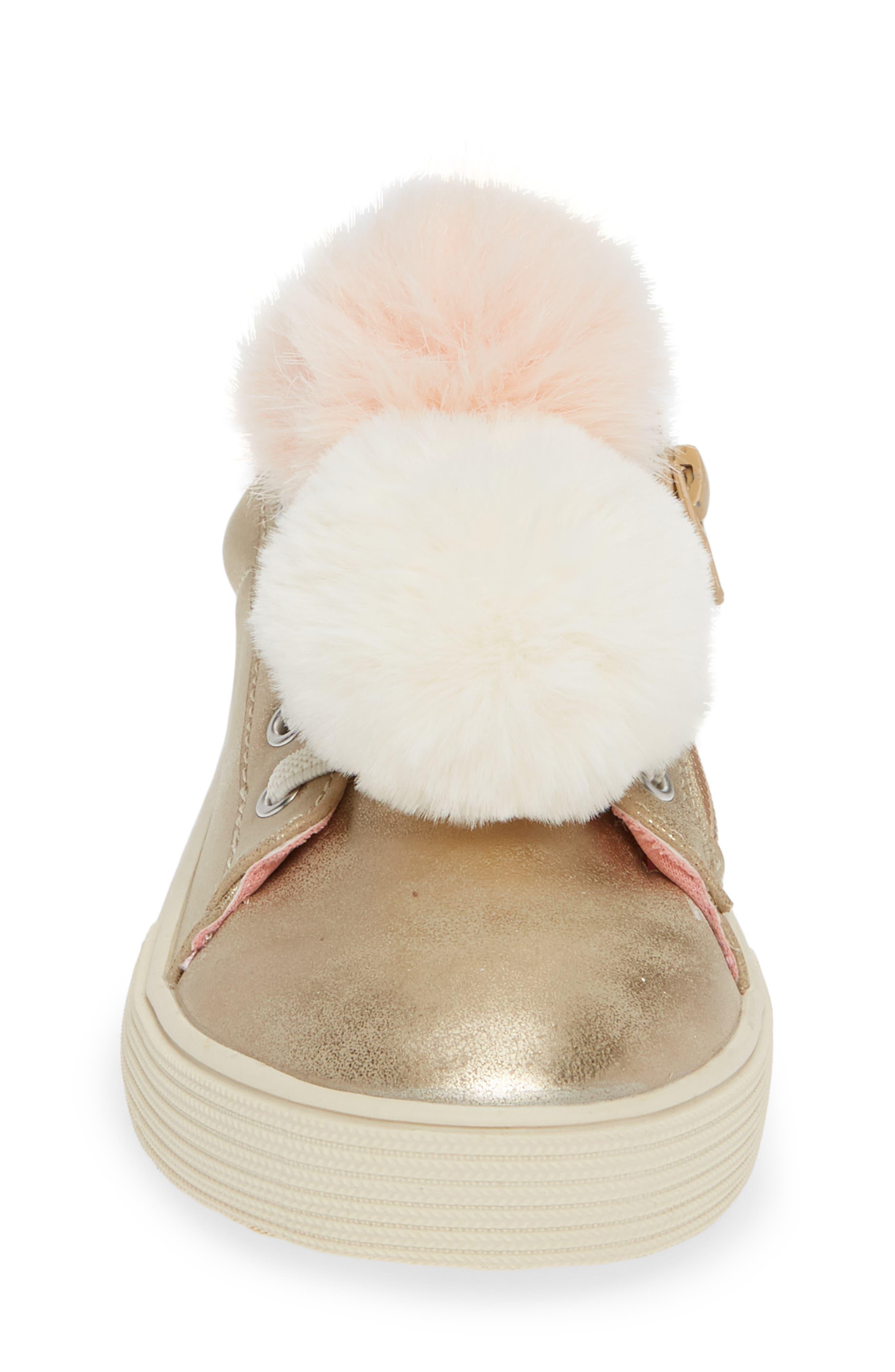 Millie Metallic Pom Sneaker,                             Alternate thumbnail 4, color,                             GOLD METALLIC FAUX LEATHER