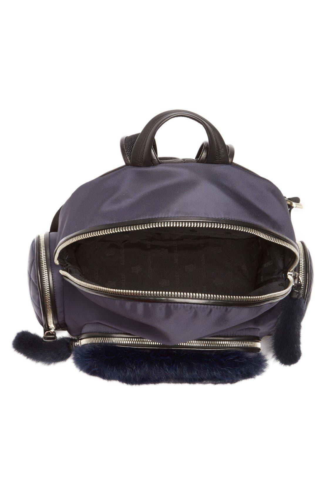 'Florine' Genuine Rabbit Fur Trim Backpack,                             Alternate thumbnail 3, color,                             419