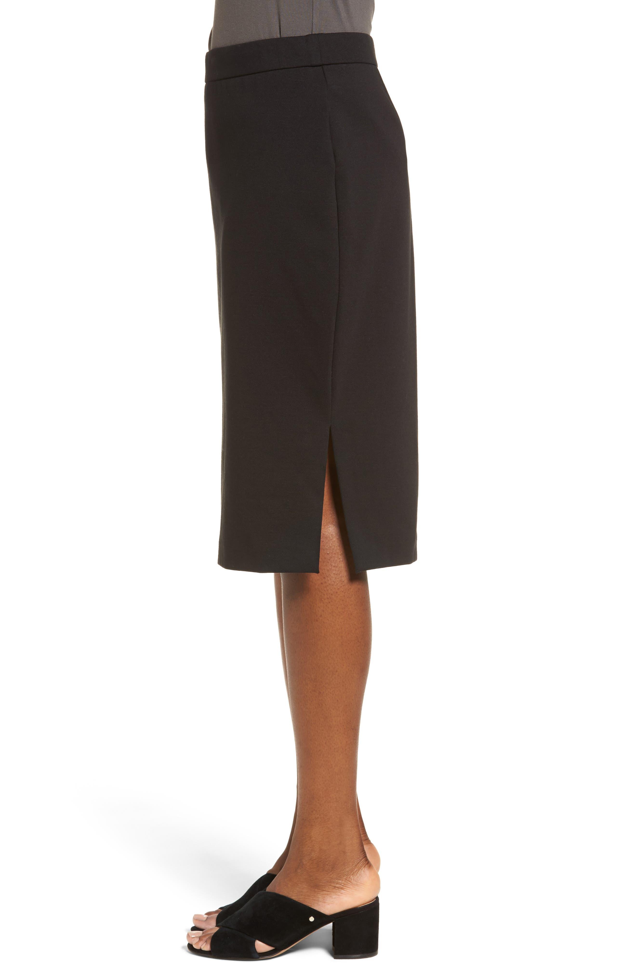 Tencel<sup>®</sup> Blend Pencil Skirt,                             Alternate thumbnail 4, color,                             001